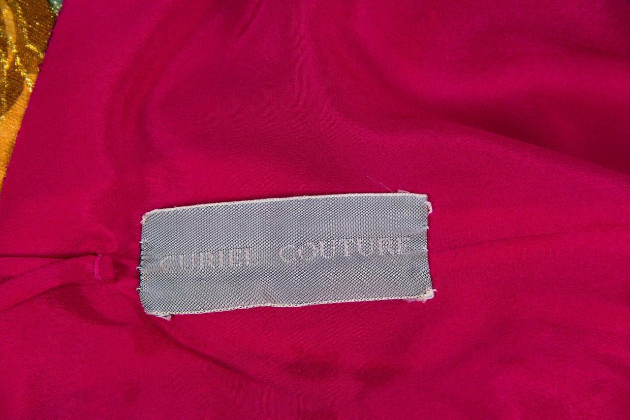 1990s Curiel Couture Lamé Damask Gown 9