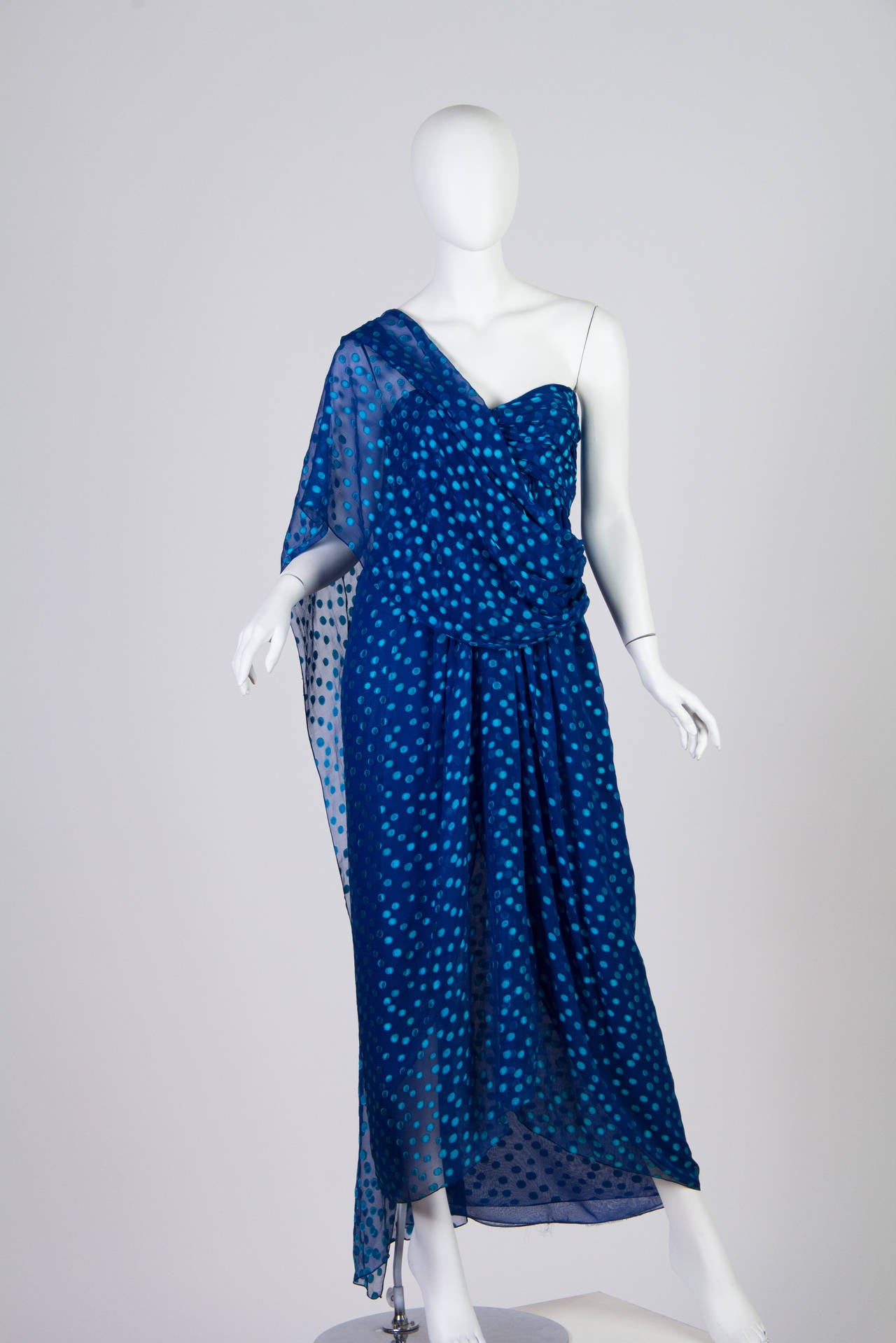 Purple 1970s Oscar de la Renta Chiffon Dress For Sale