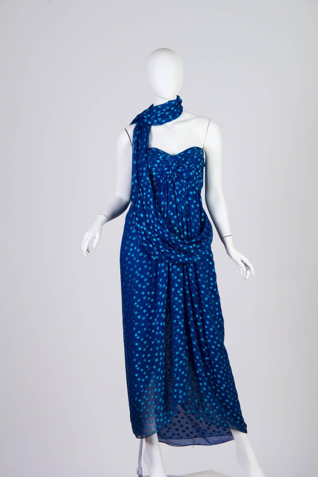 1970s Oscar de la Renta Chiffon Dress For Sale 1