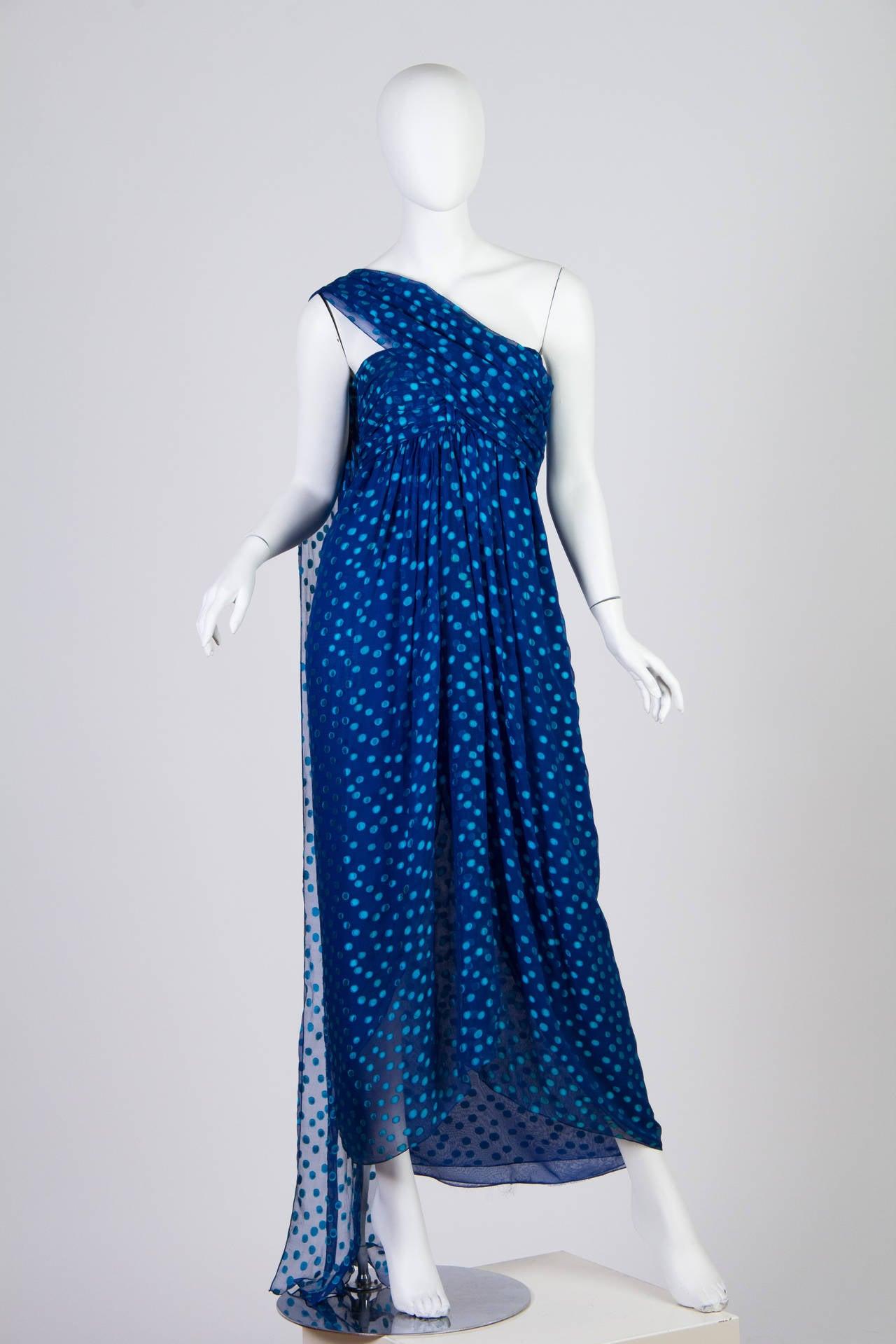 Women's 1970s Oscar de la Renta Chiffon Dress For Sale