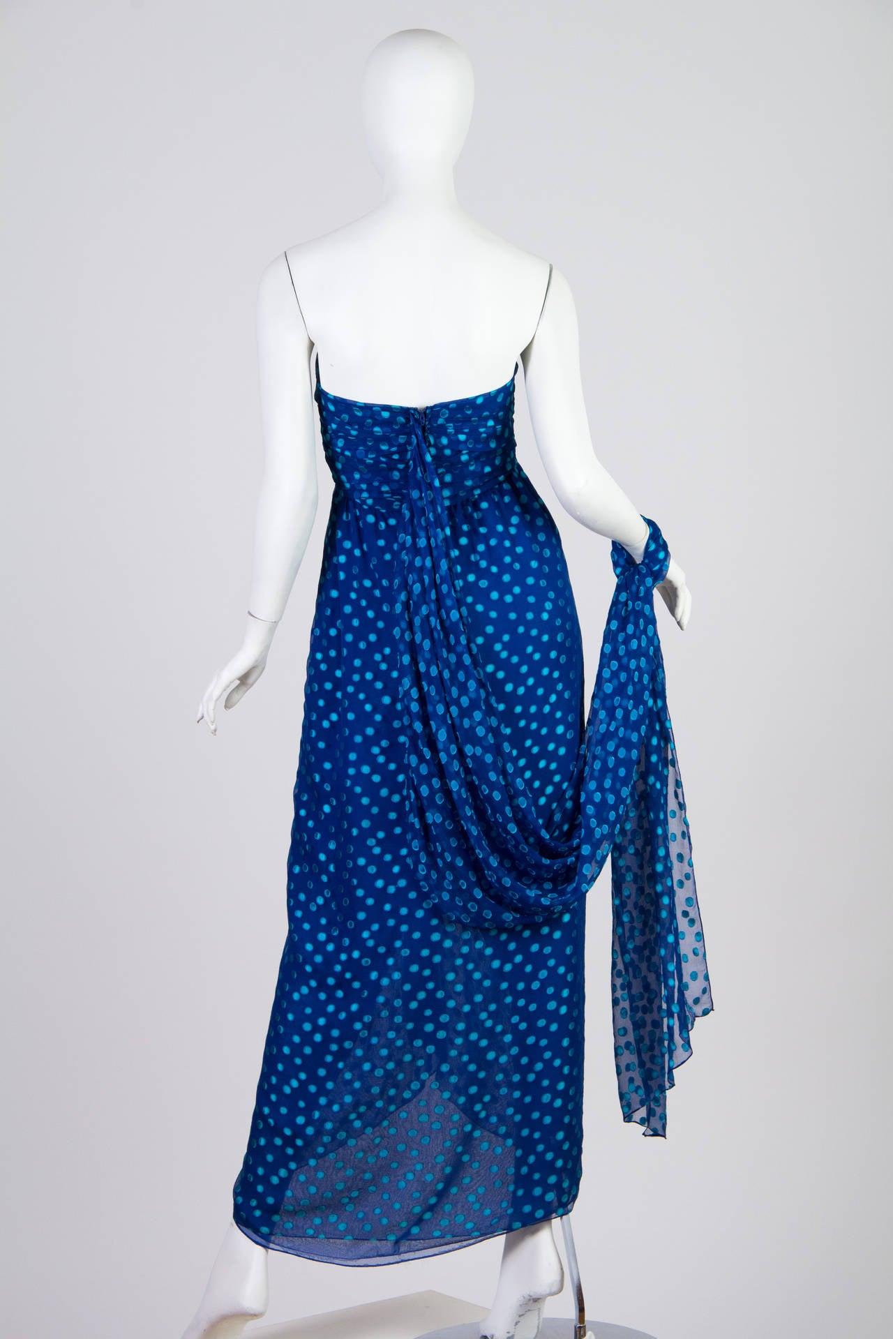 1970s Oscar de la Renta Chiffon Dress For Sale 2