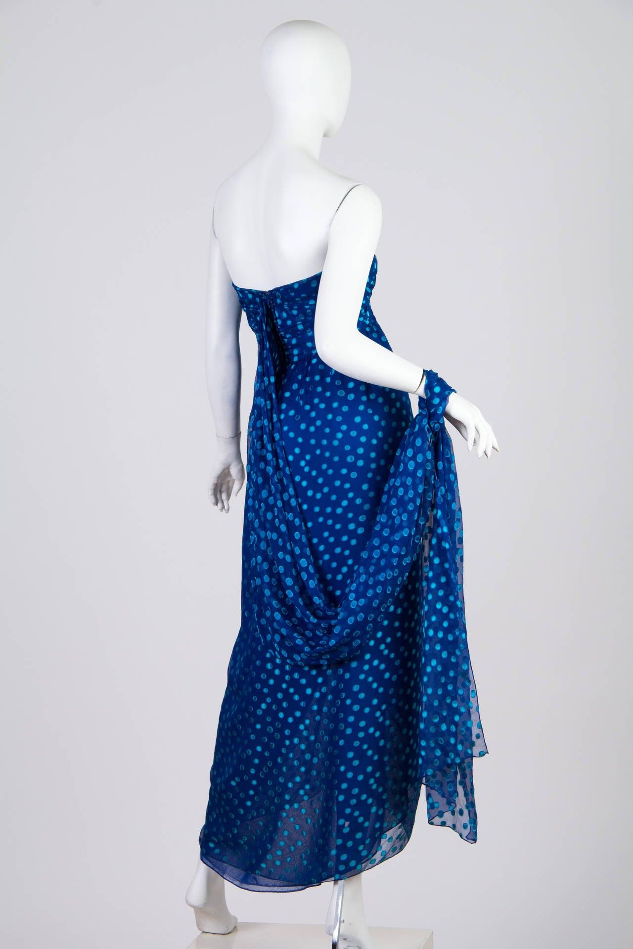 1970s Oscar de la Renta Chiffon Dress For Sale 3