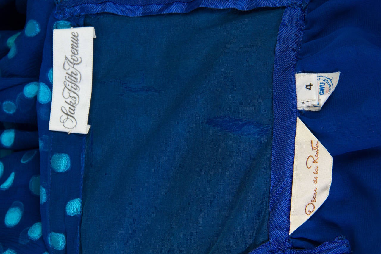 1970s Oscar de la Renta Chiffon Dress For Sale 4