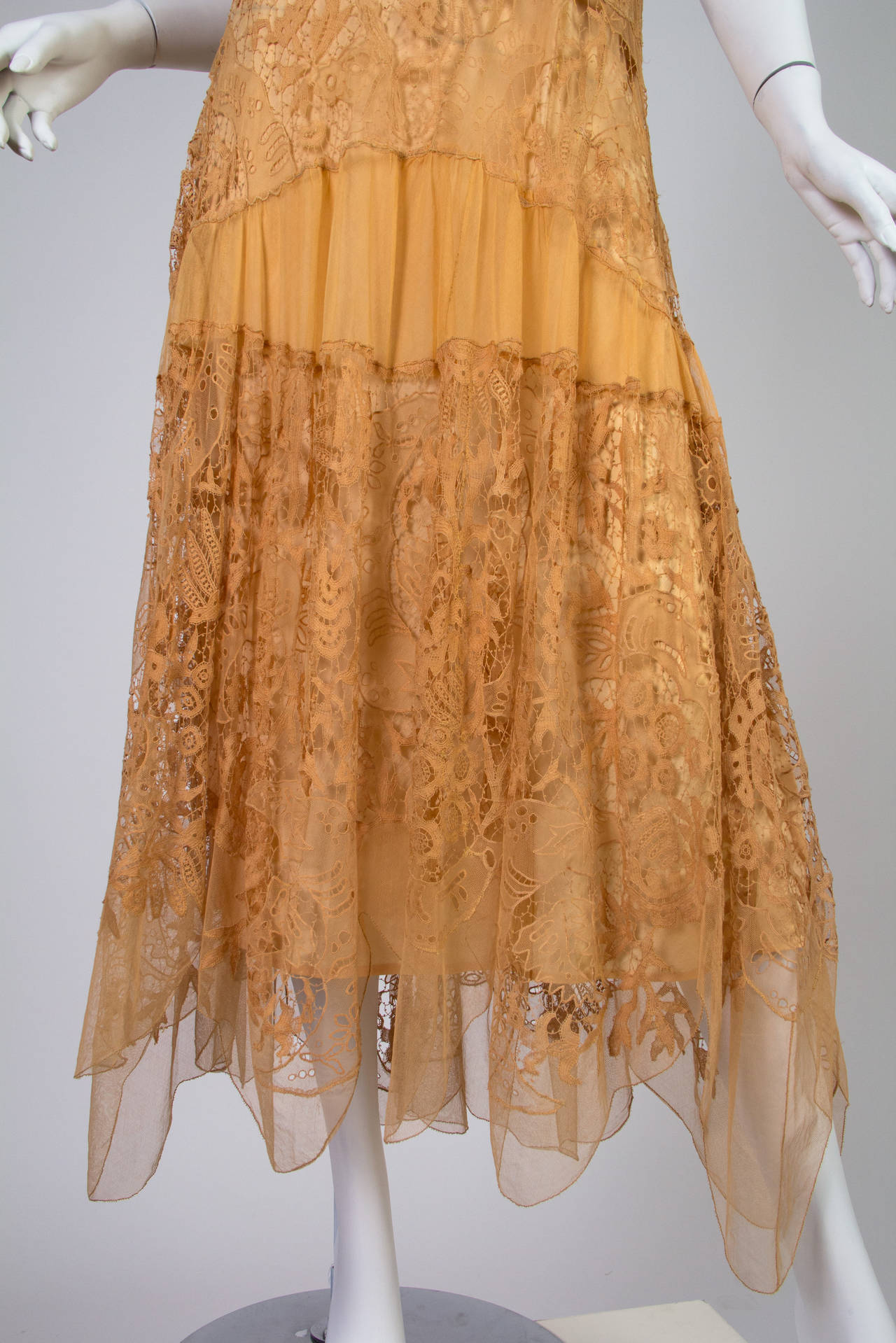 Late 1920s Lace and Net Dress 7