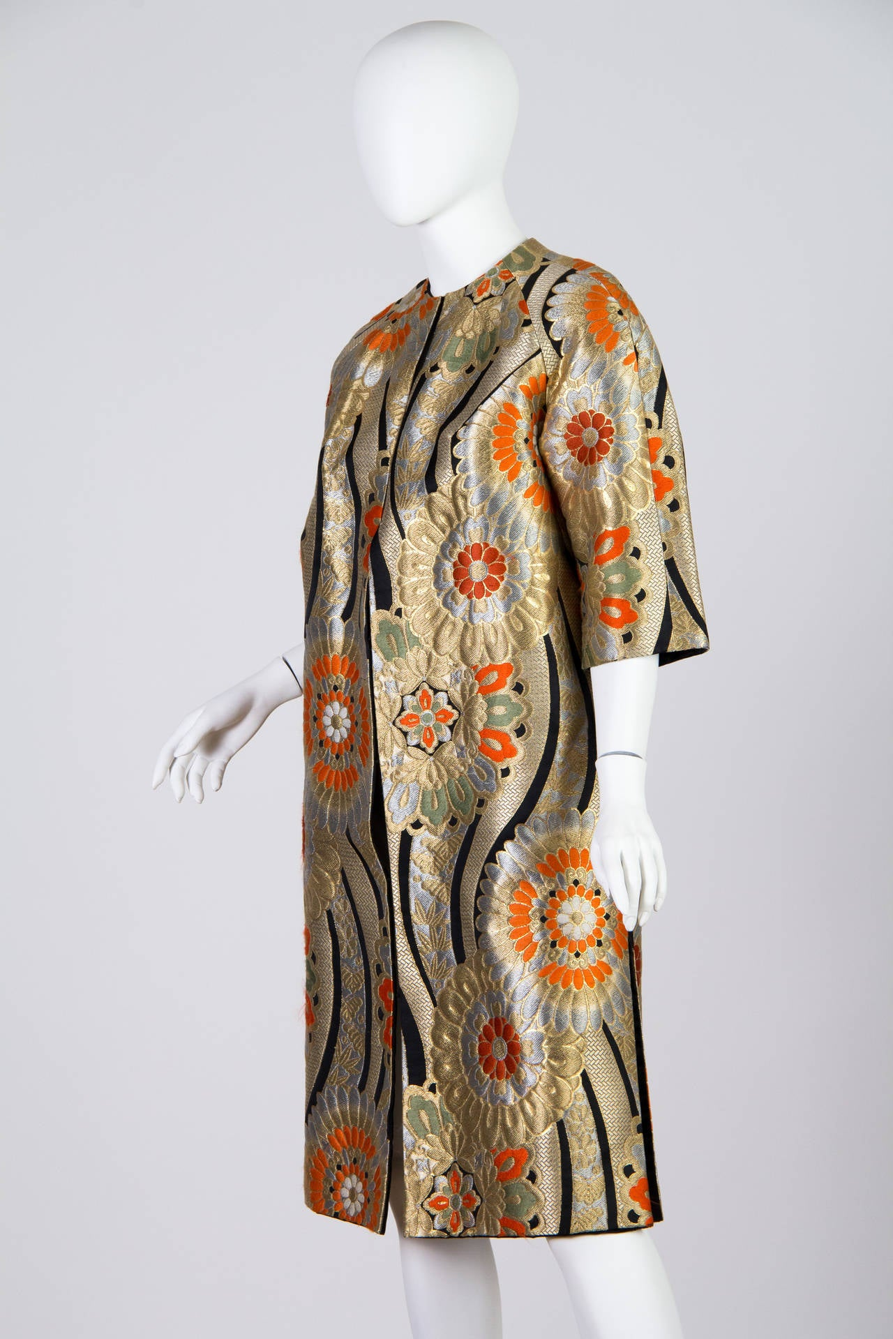 1960s Coat Made from Gold Shōwa Era Japanese Obi Fabric 3