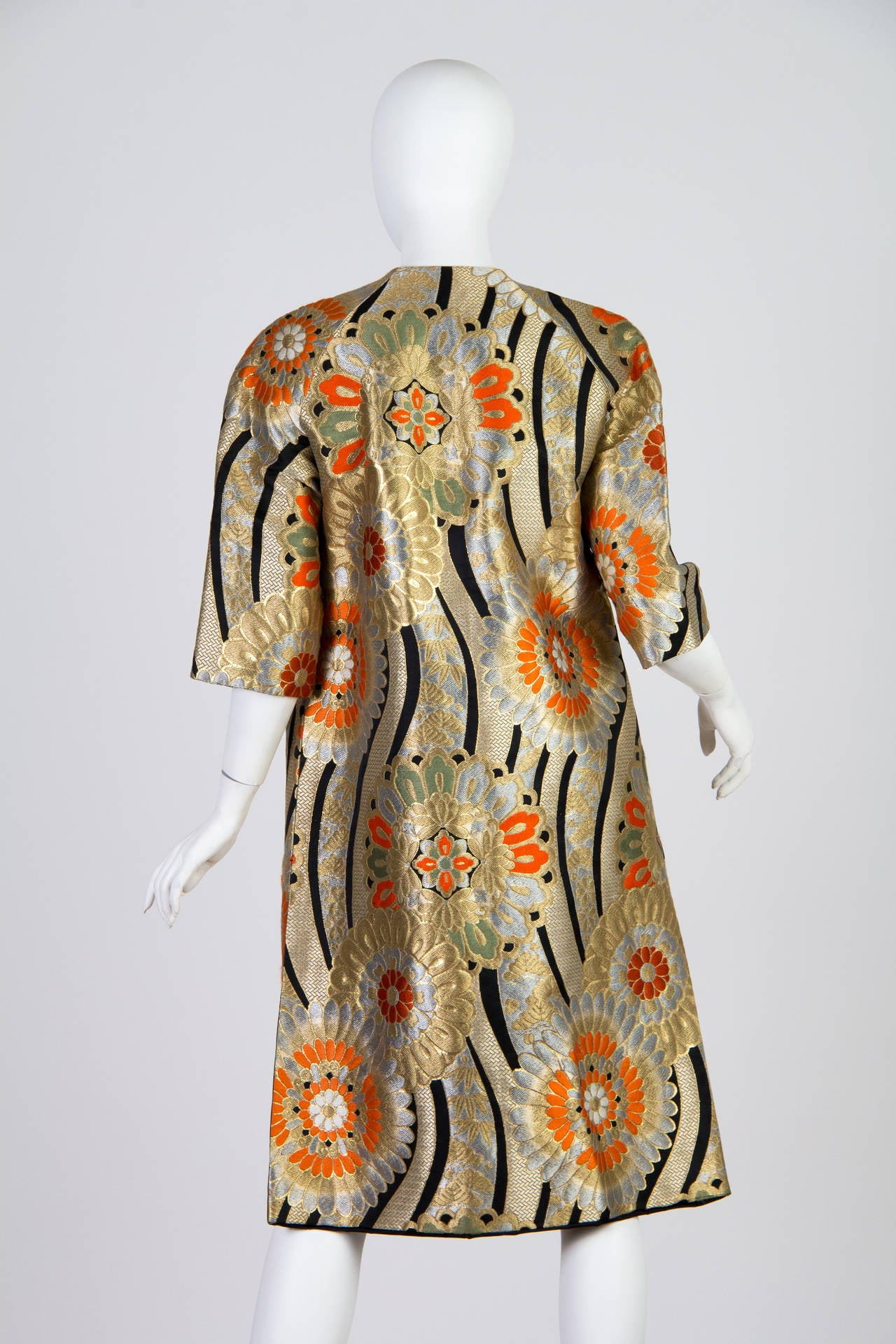 1960s Coat Made from Gold Shōwa Era Japanese Obi Fabric 4