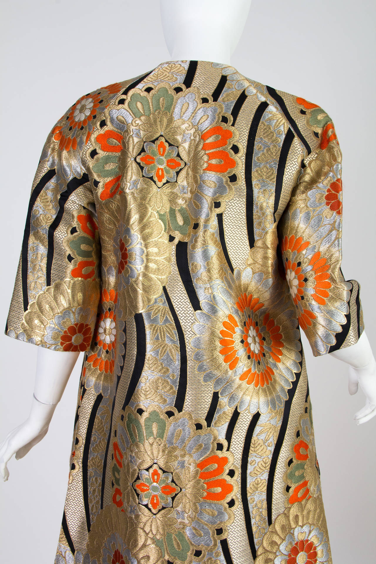 1960s Coat Made from Gold Shōwa Era Japanese Obi Fabric For Sale 2