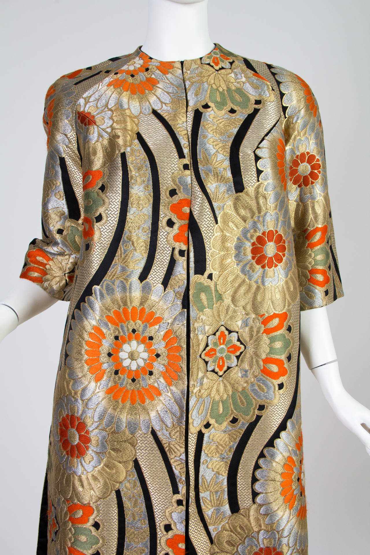 1960s Coat Made from Gold Shōwa Era Japanese Obi Fabric For Sale 3