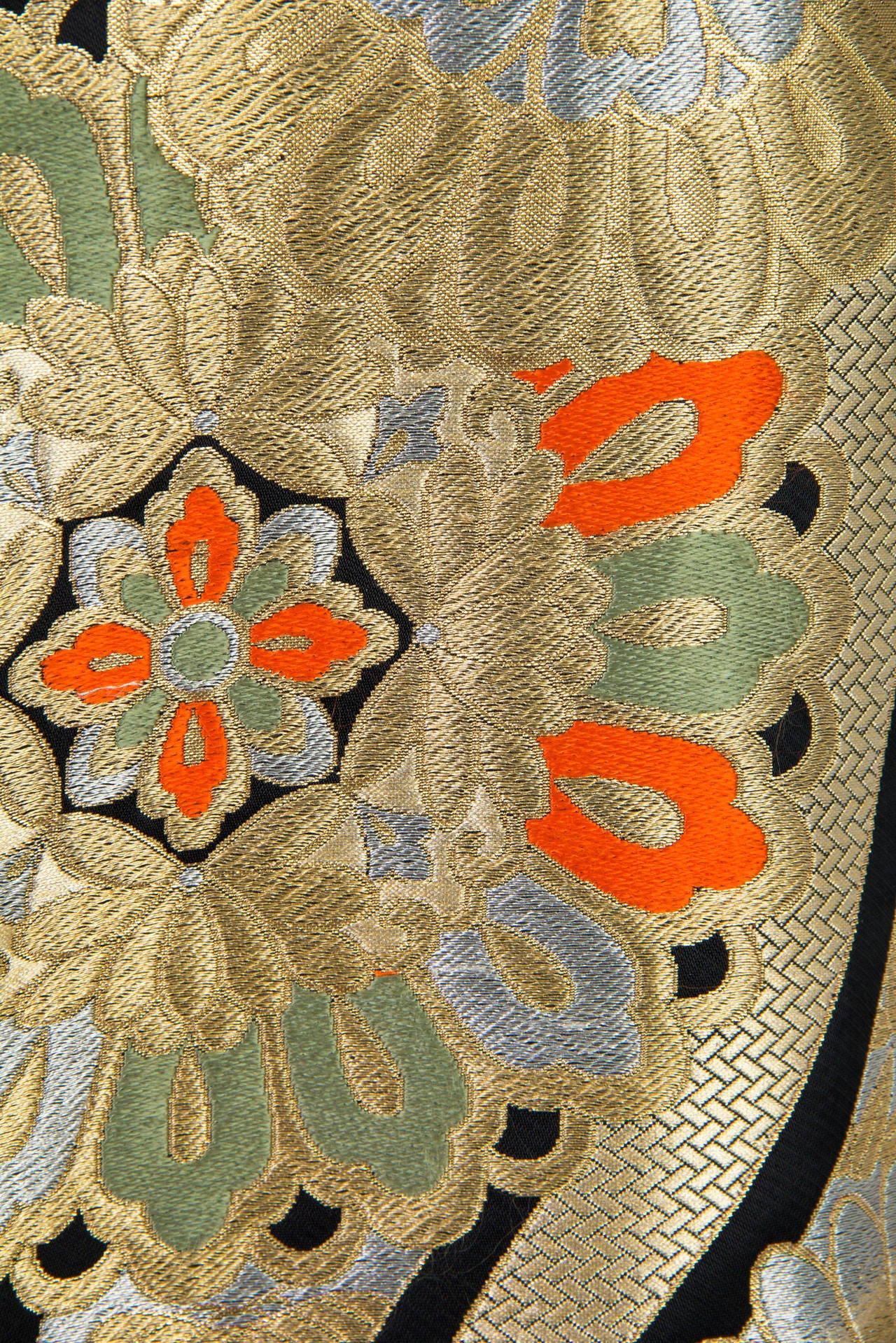 1960s Coat Made from Gold Shōwa Era Japanese Obi Fabric For Sale 4