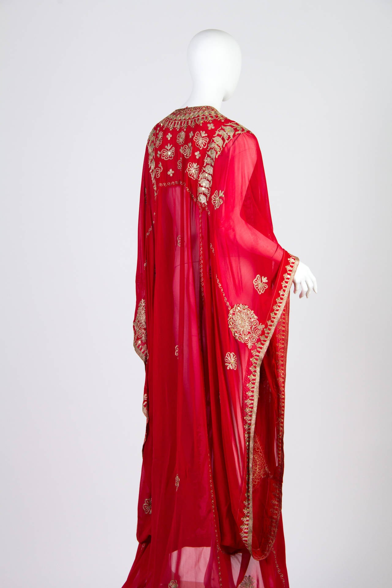 Red Silver embroidered Sheer Kaftan For Sale