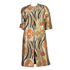 1960s Coat Made from Gold Shōwa Era Japanese Obi Fabric