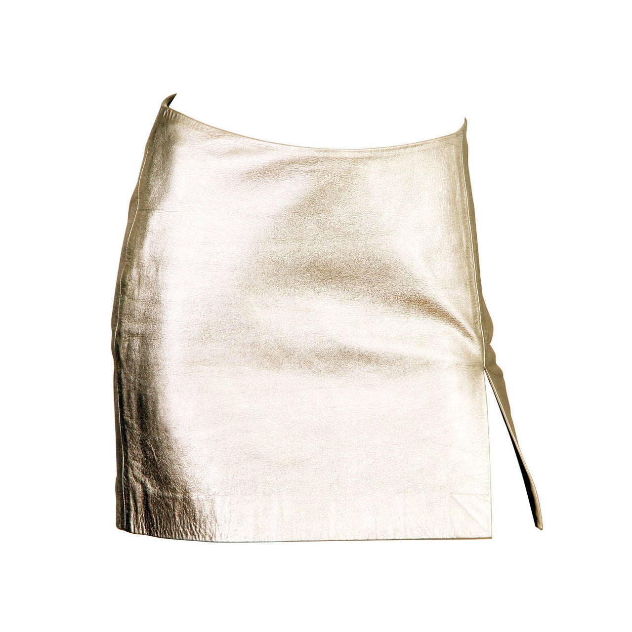 Iconic Documented 1994 Supermodel Gianni Versace Couture Silver Leather Skirt For Sale