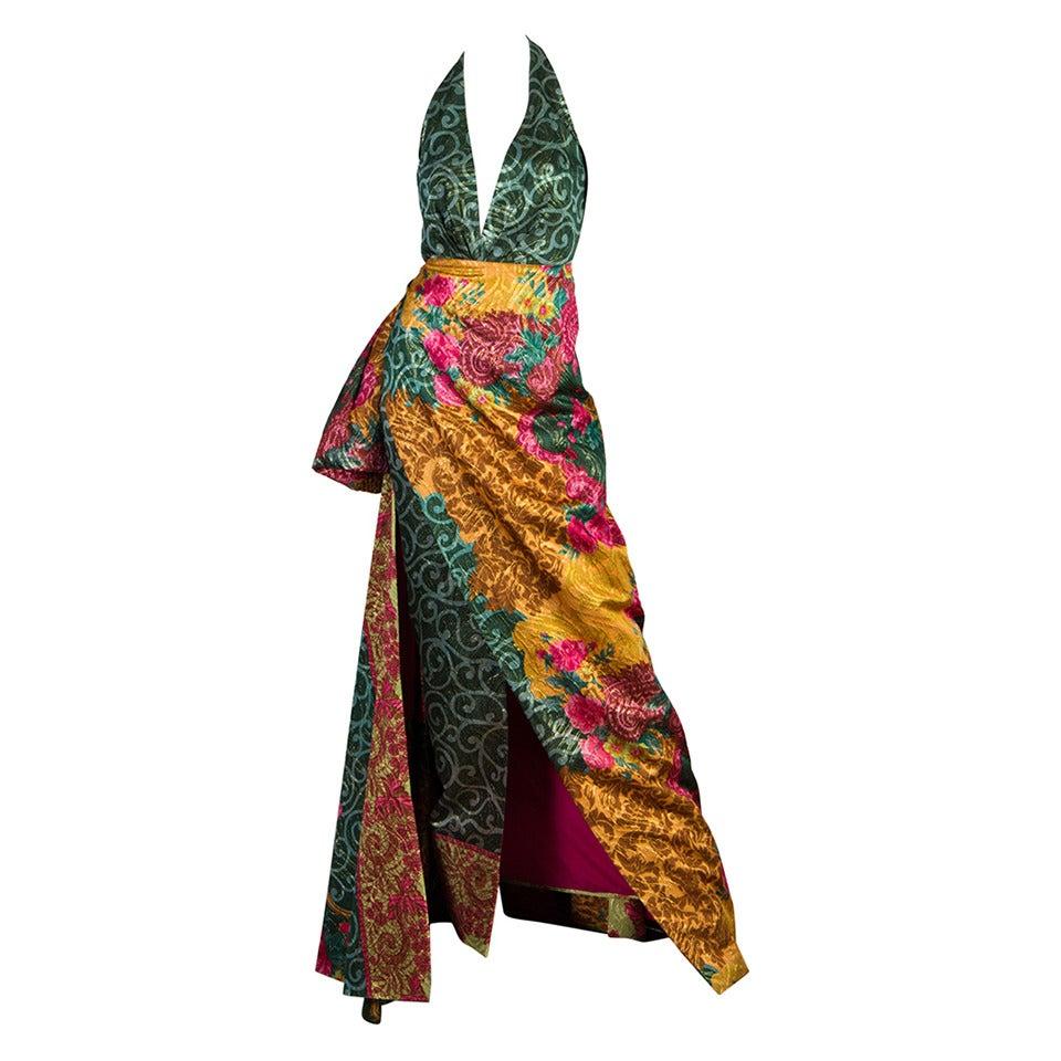 1990s Curiel Couture Lamé Damask Gown 1