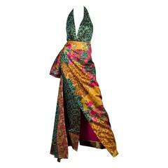 1990s Curiel Couture Lamé Damask Gown