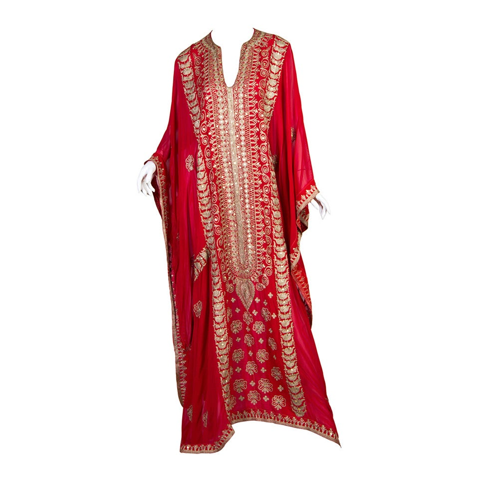 Silver embroidered Sheer Kaftan For Sale