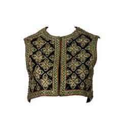 1960s Jeweled Velvet Marie McCarthy for Larry Aldrich Vest