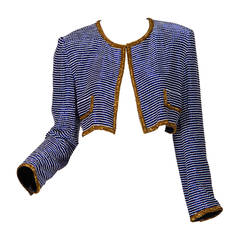 Russell Trusso Couture Cobalt Beaded Jacket