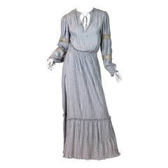 1970s Mary McFadden Dress with Antique Silver Braid