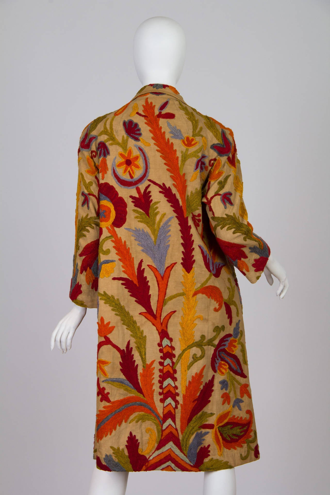 1920s Wool on Cotton Indian Crewl Embroidered Coat 3