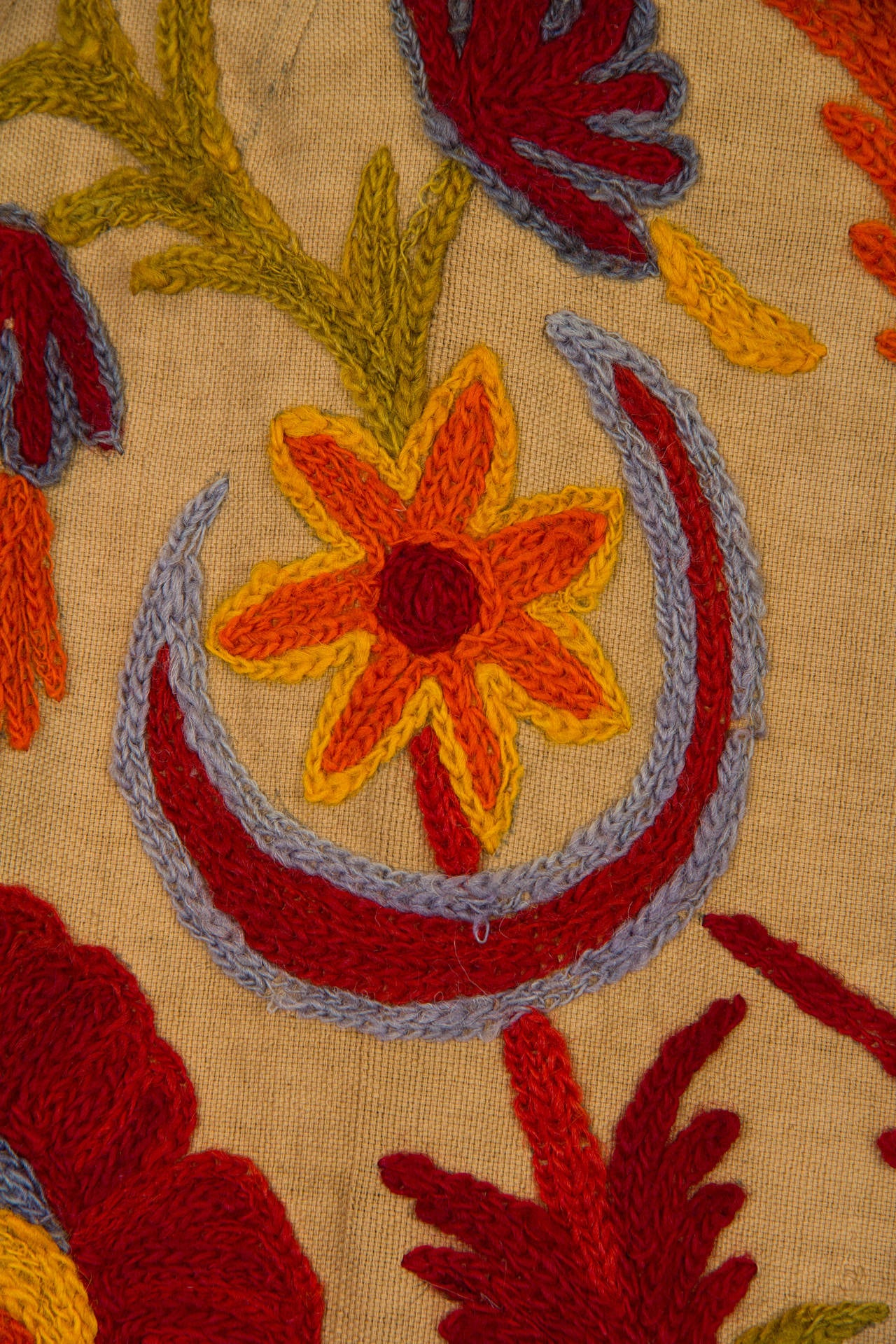 1920s Wool on Cotton Indian Crewl Embroidered Coat 7