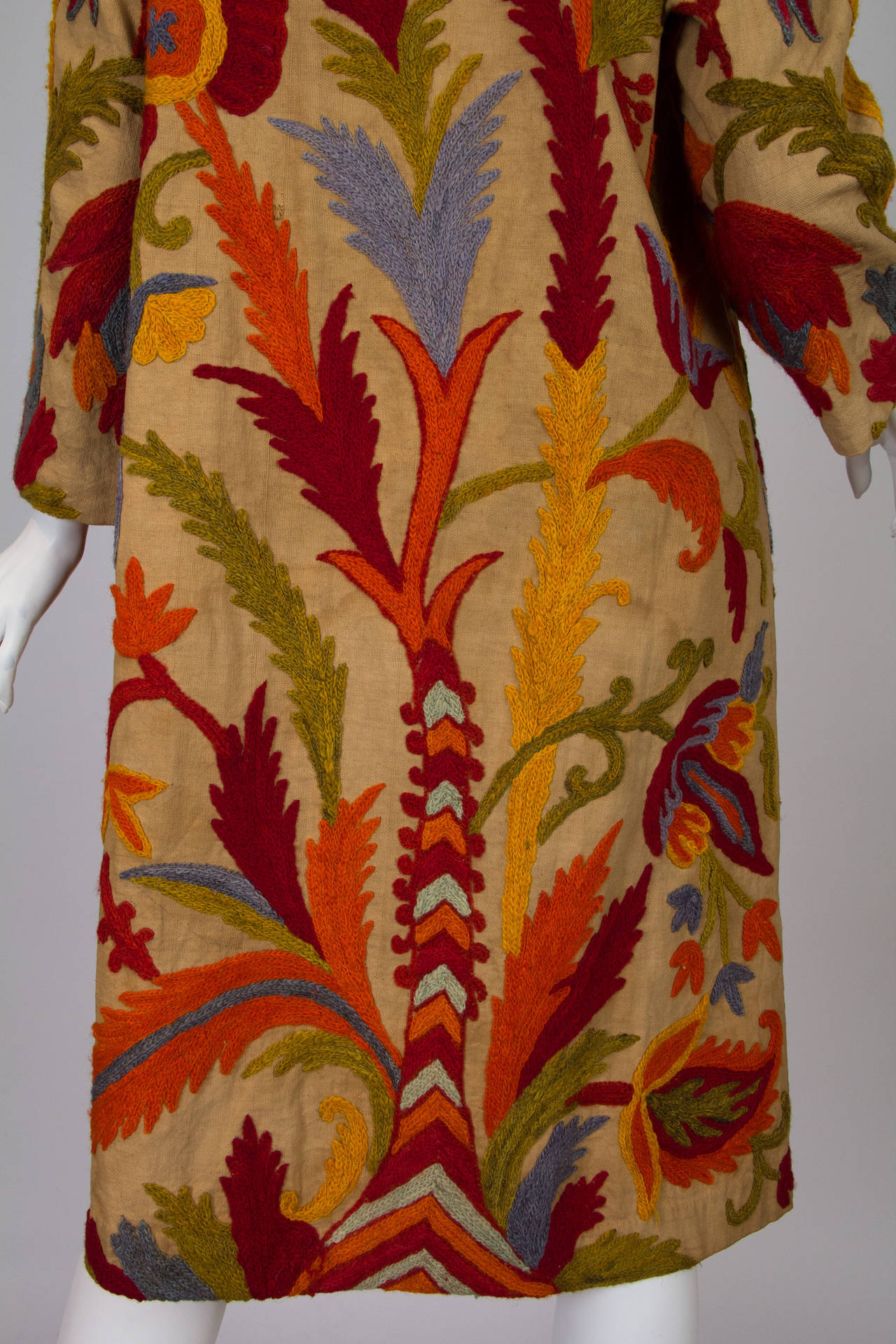 1920s Wool on Cotton Indian Crewl Embroidered Coat 6