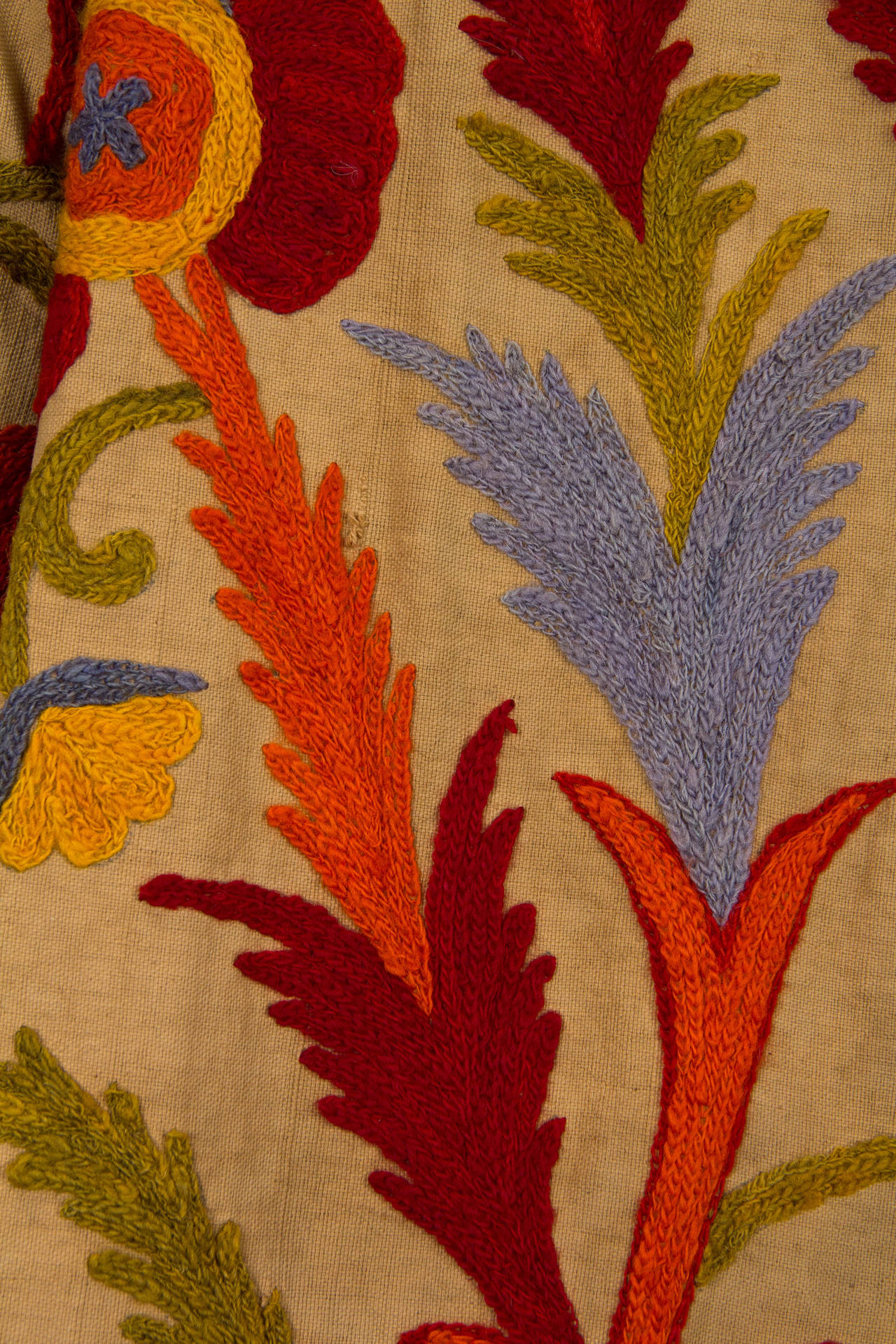 1920s Wool on Cotton Indian Crewl Embroidered Coat 8
