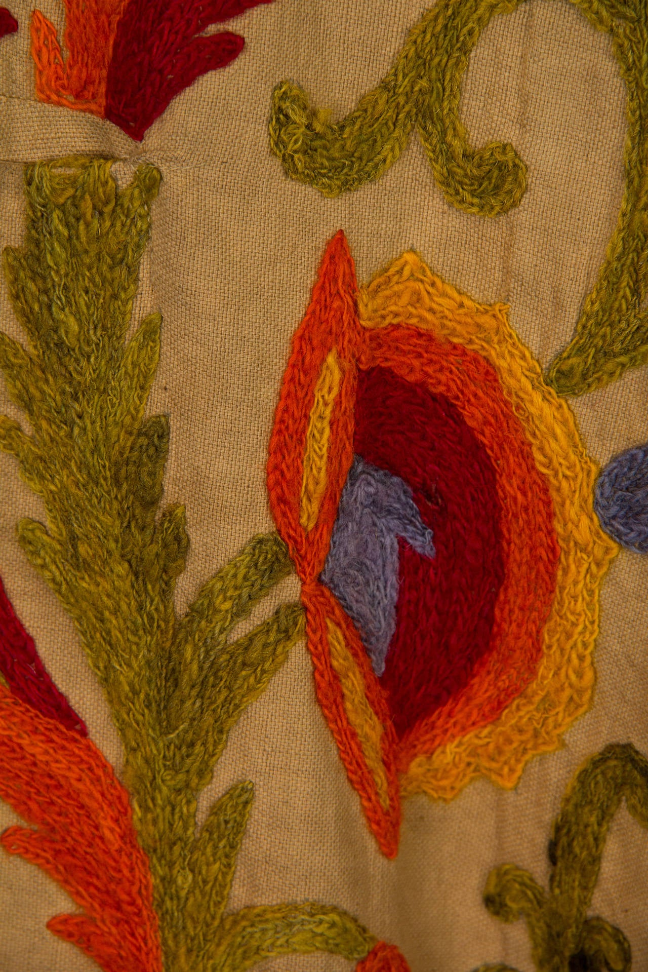 1920s Wool on Cotton Indian Crewl Embroidered Coat 9