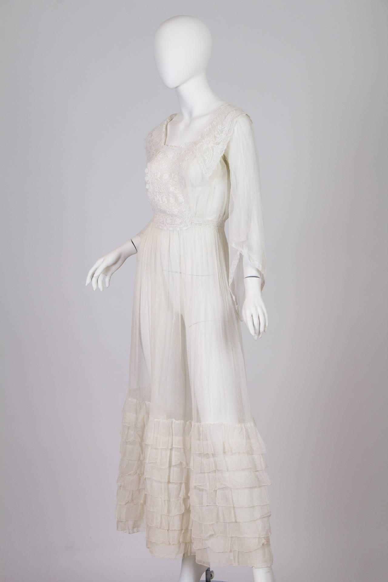 1910s Cotton Net Dress with Irish crochet and lace trim 2