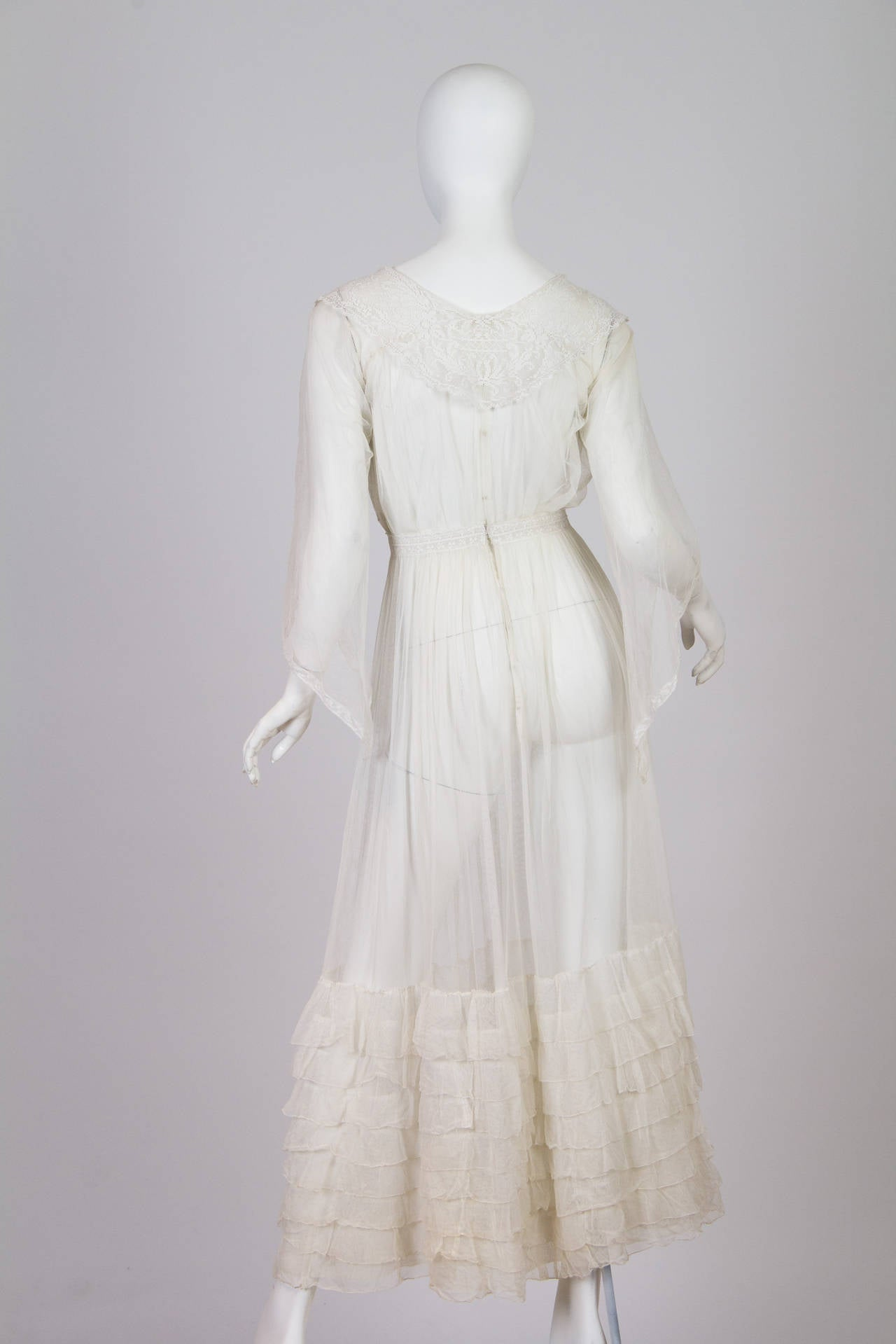 1910s Cotton Net Dress with Irish crochet and lace trim 3