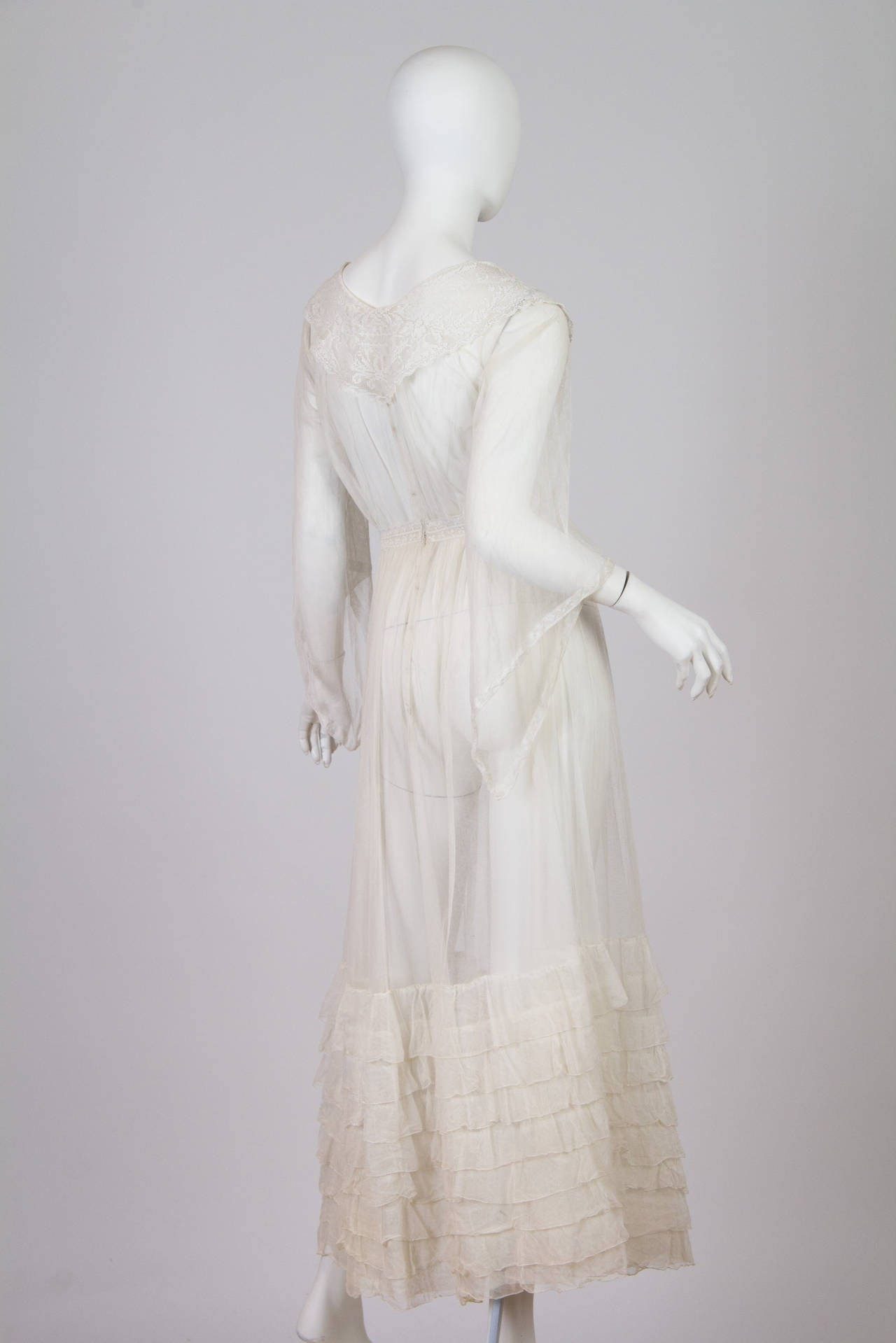 1910s Cotton Net Dress with Irish crochet and lace trim 4