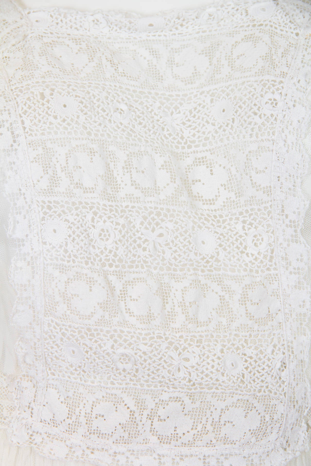 1910s Cotton Net Dress with Irish crochet and lace trim 5
