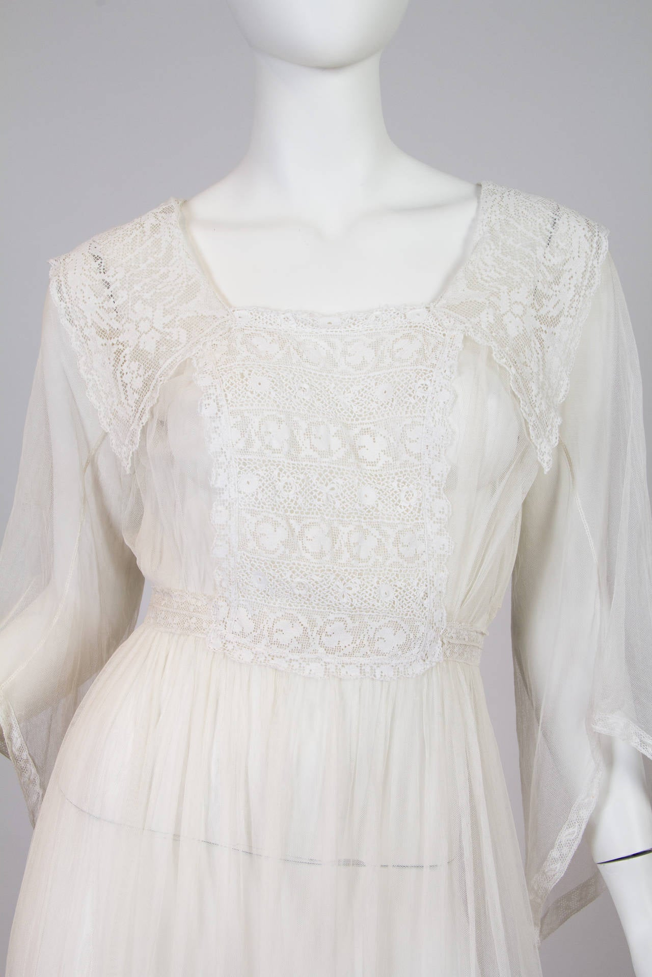 1910s Cotton Net Dress with Irish crochet and lace trim 6