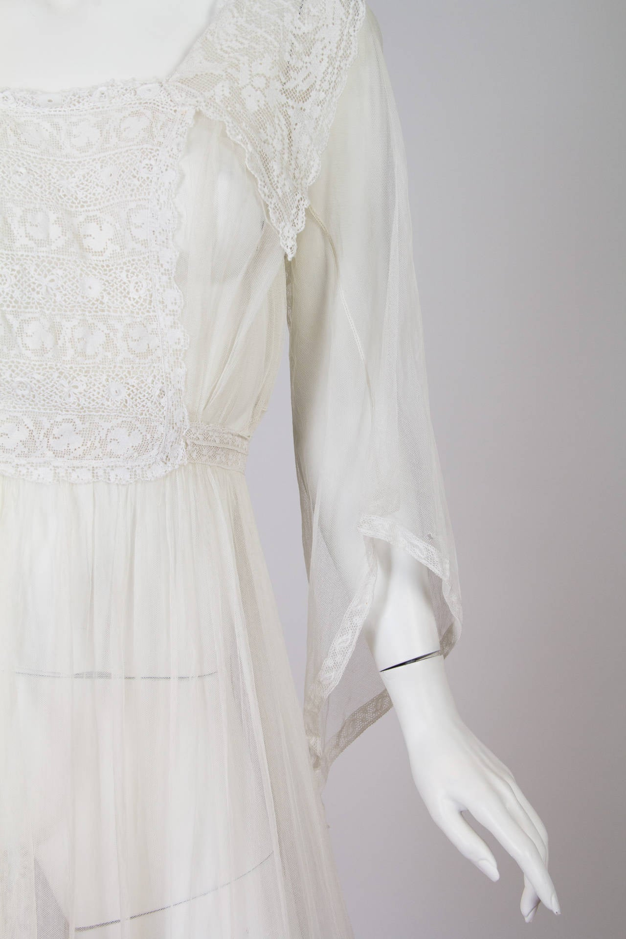 1910s Cotton Net Dress with Irish crochet and lace trim 7