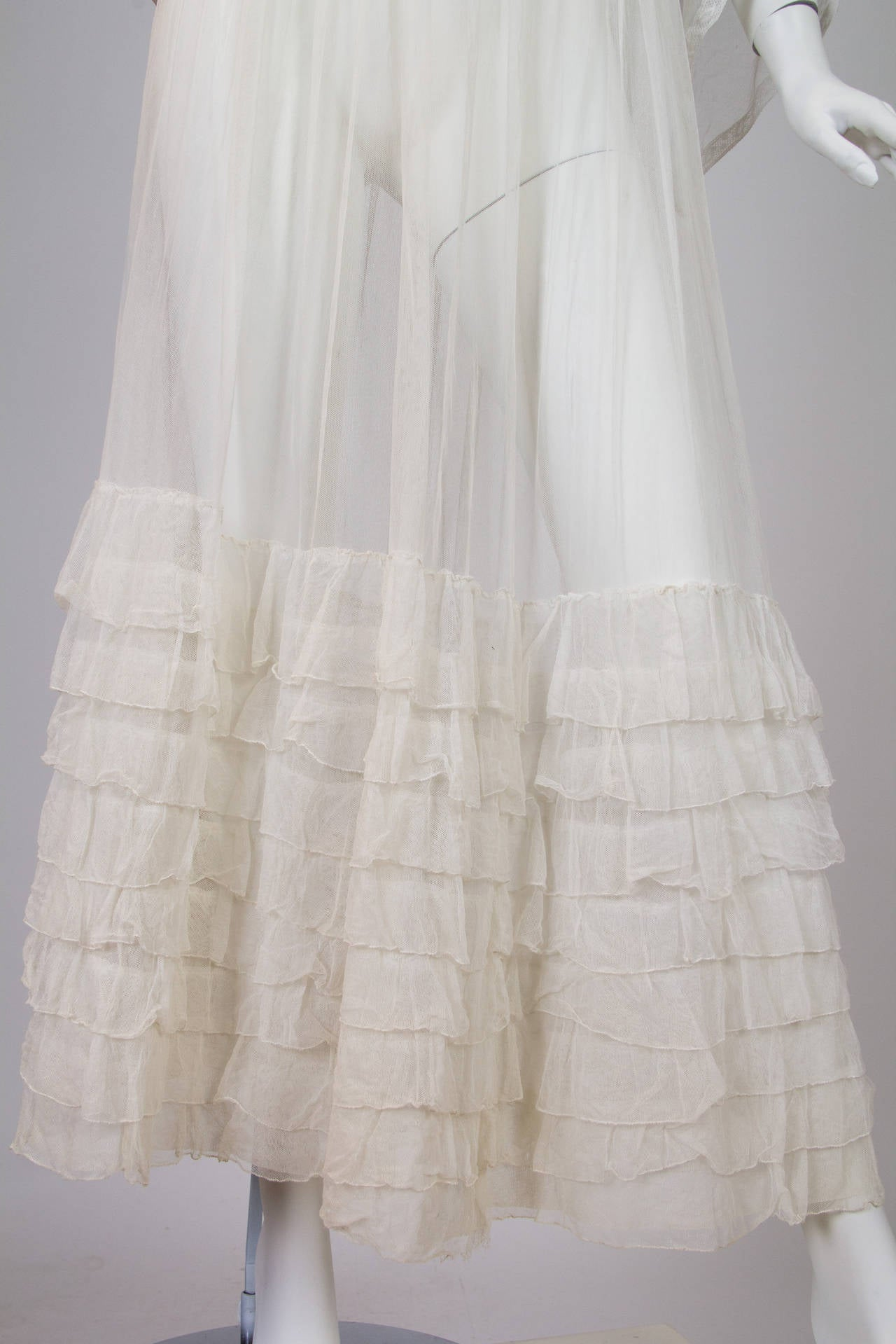 1910s Cotton Net Dress with Irish crochet and lace trim 8