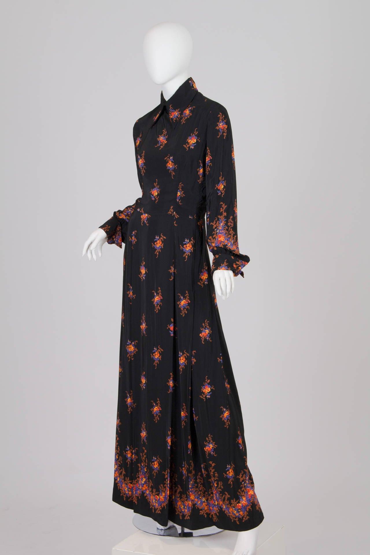 Valentino 1970s Nouveau Victorian Floral Dress 2
