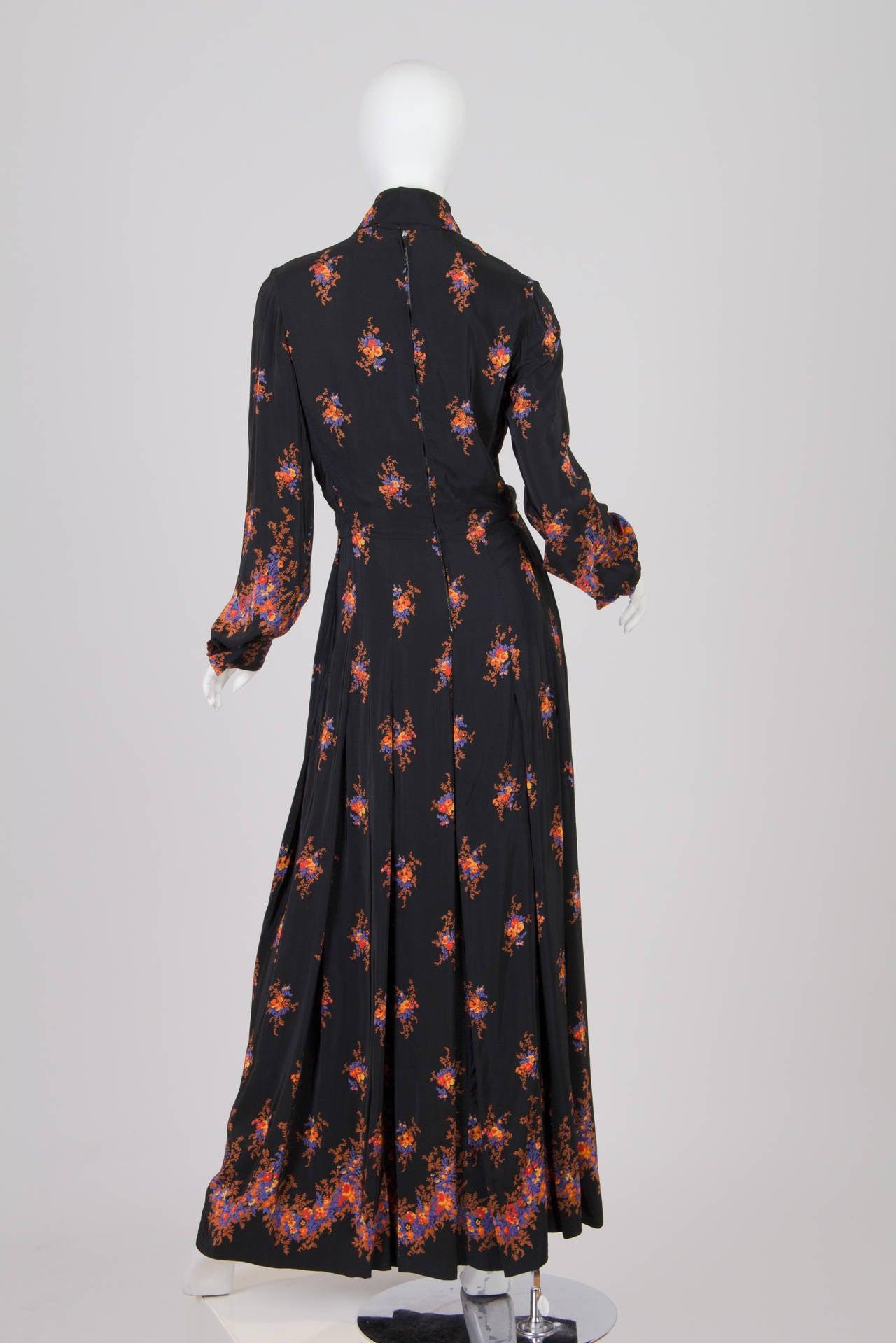 Valentino 1970s Nouveau Victorian Floral Dress 3