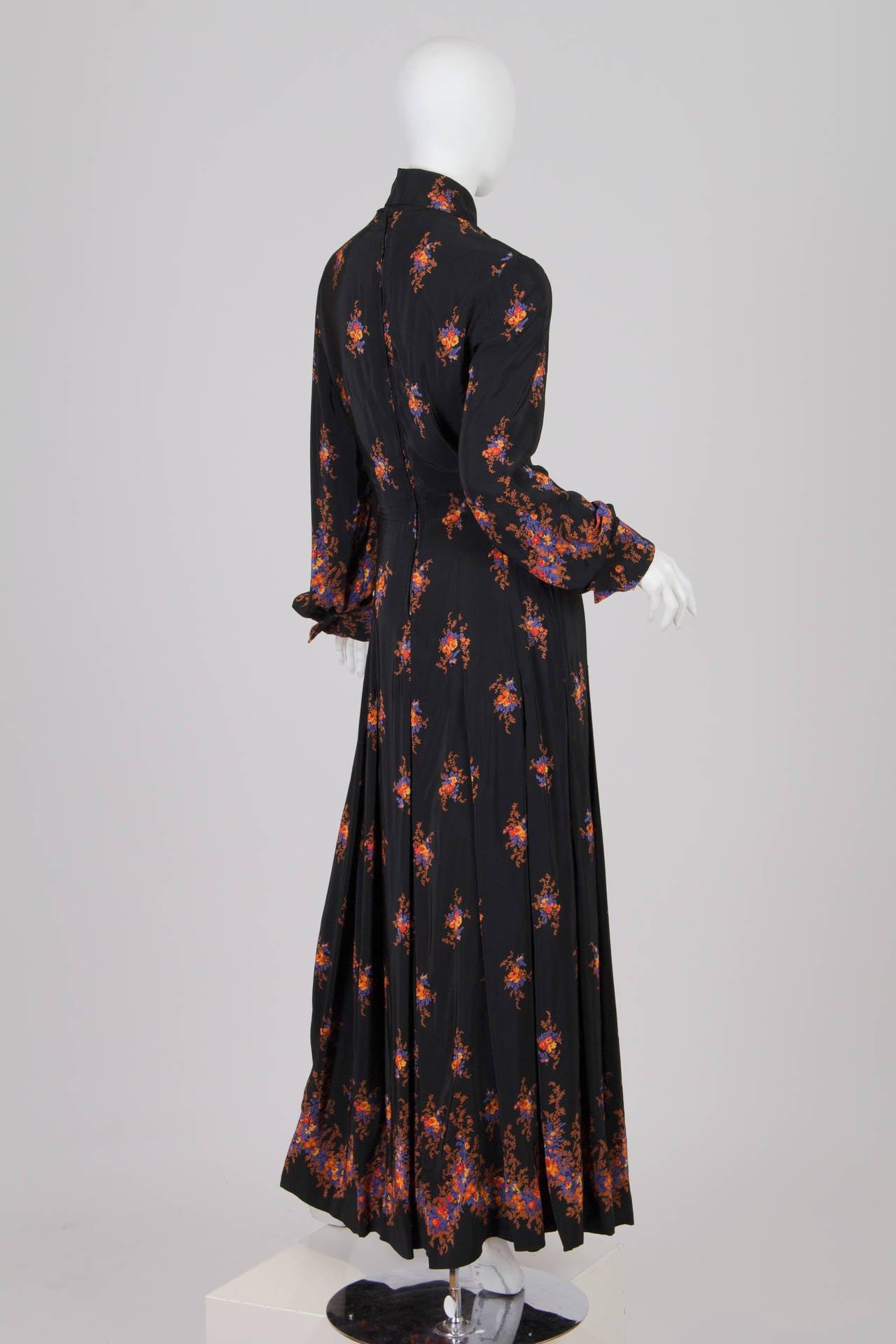 Valentino 1970s Nouveau Victorian Floral Dress 4