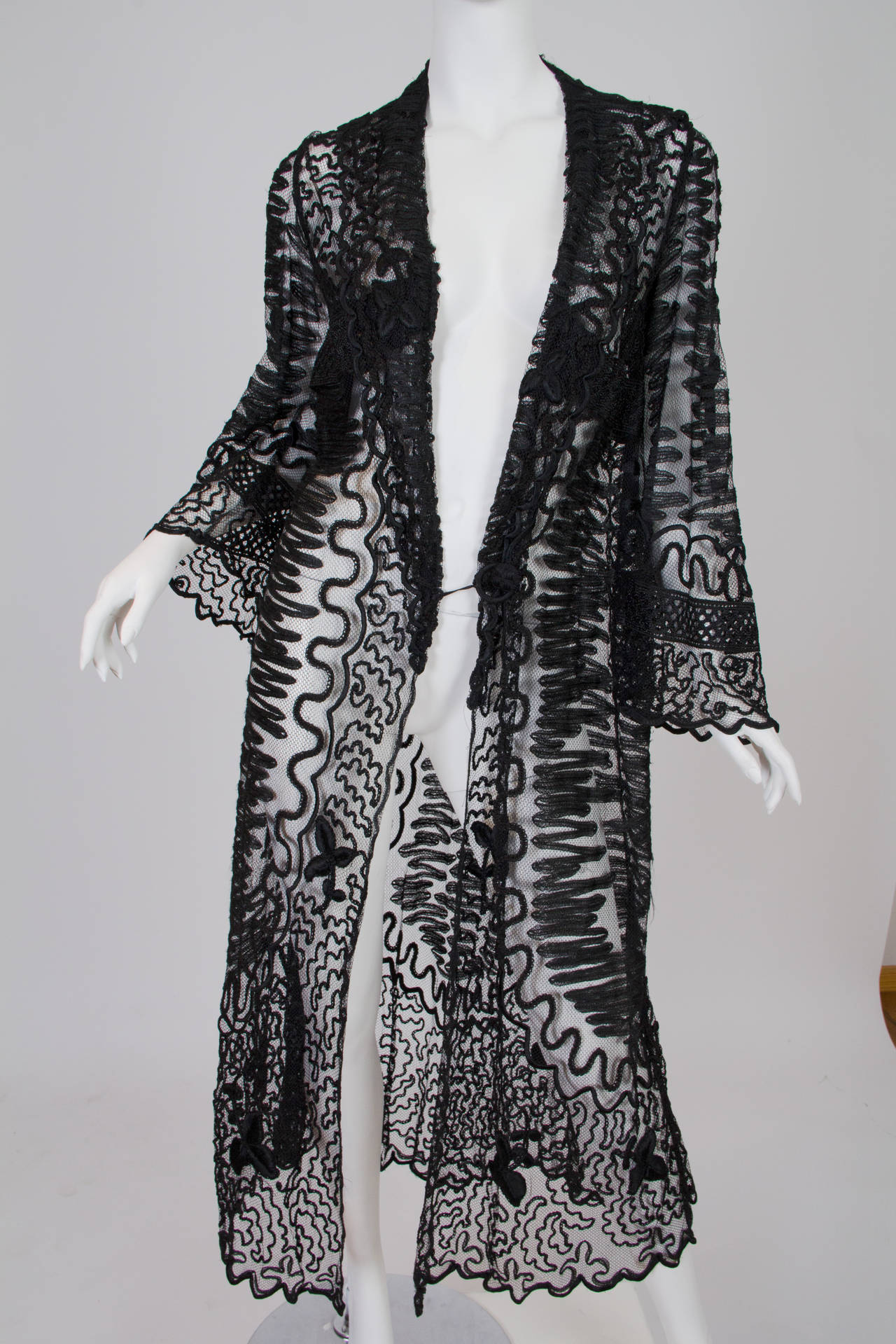 Edwardian Embroidered Soutash Net Duster 9