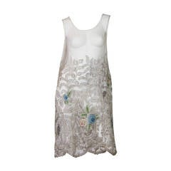1920s Embroidered and Appliqued Silk Net Dress