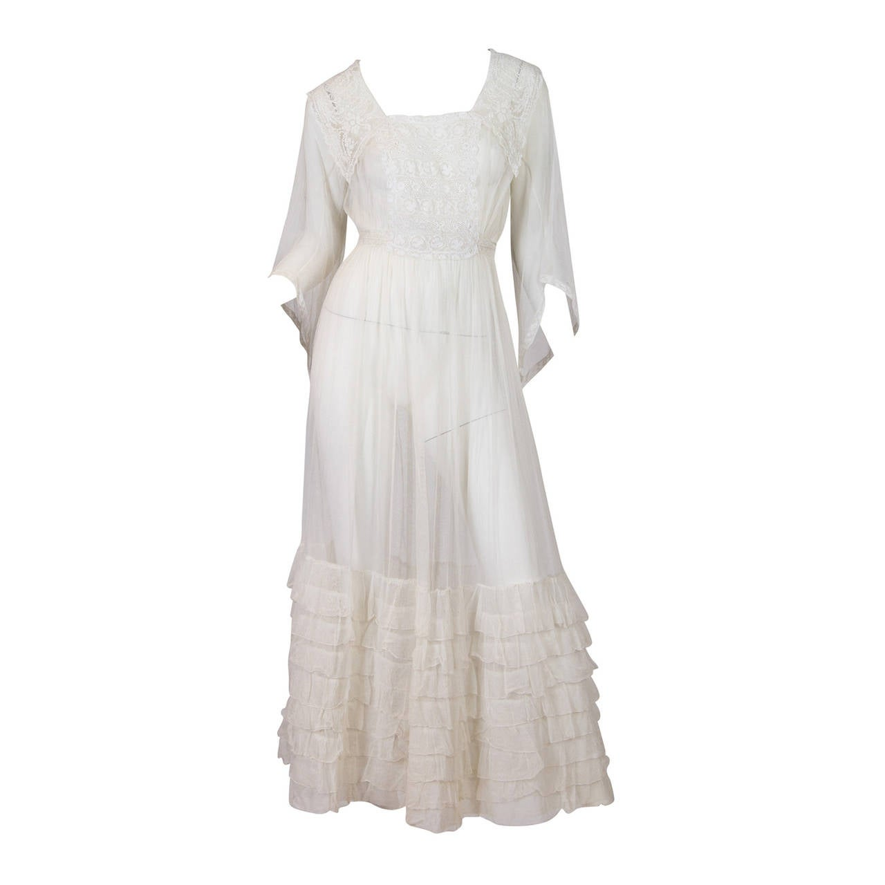 1910s Cotton Net Dress with Irish crochet and lace trim 1