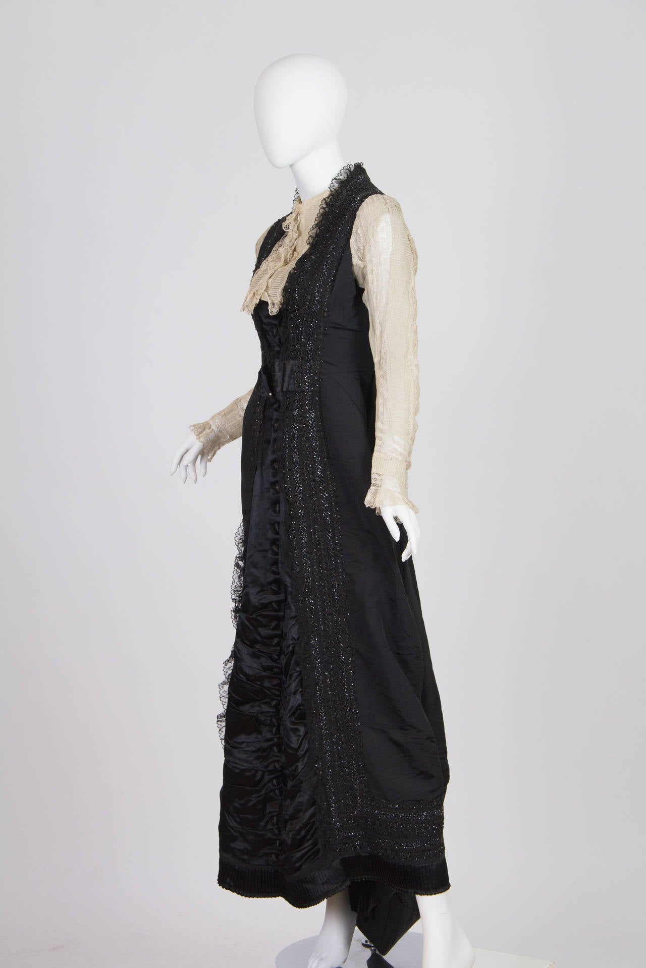 1880s Silk Satin and Organdy Bustle Gown 2