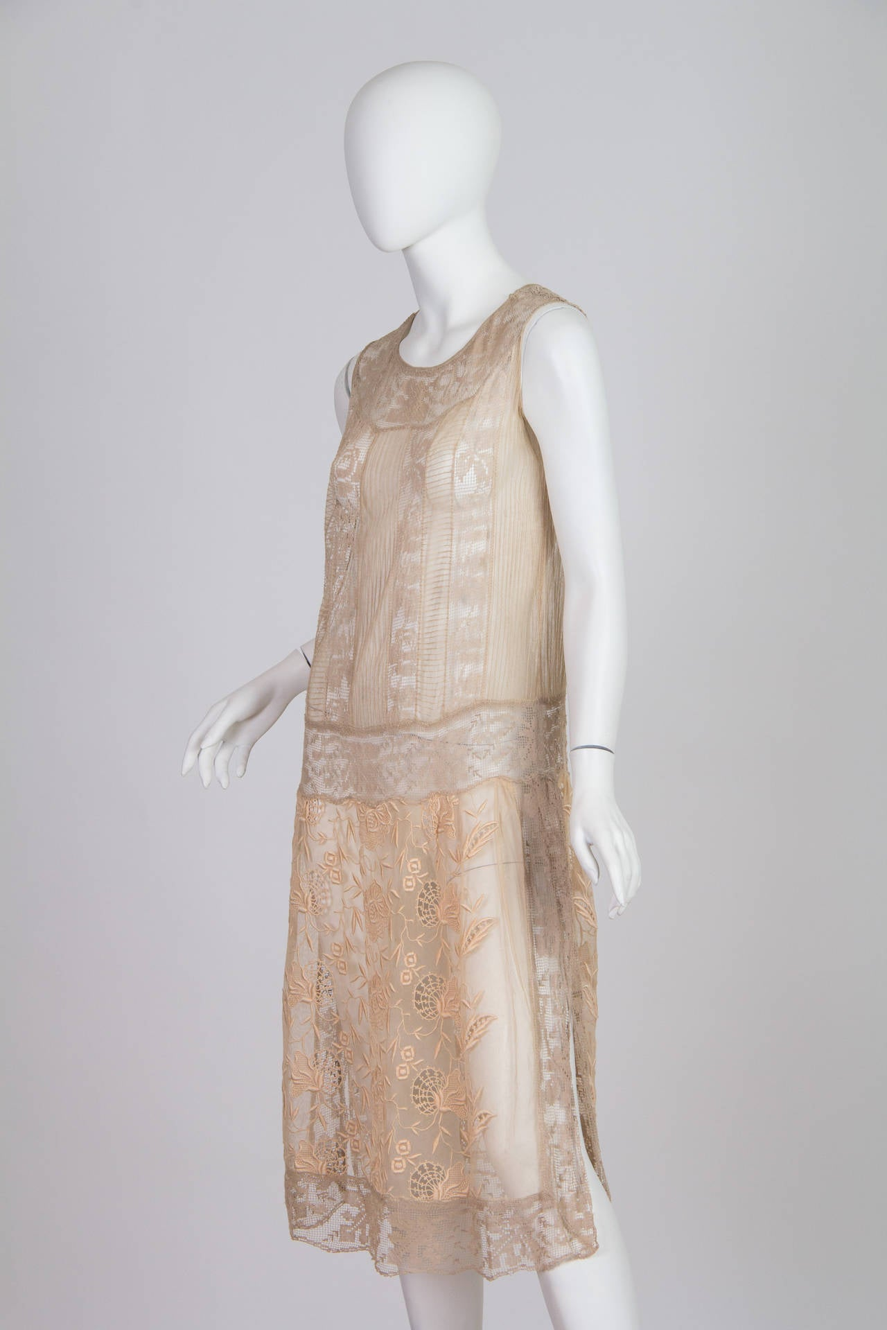 20s Handmade Lace and Embroidered Tea Dress 5