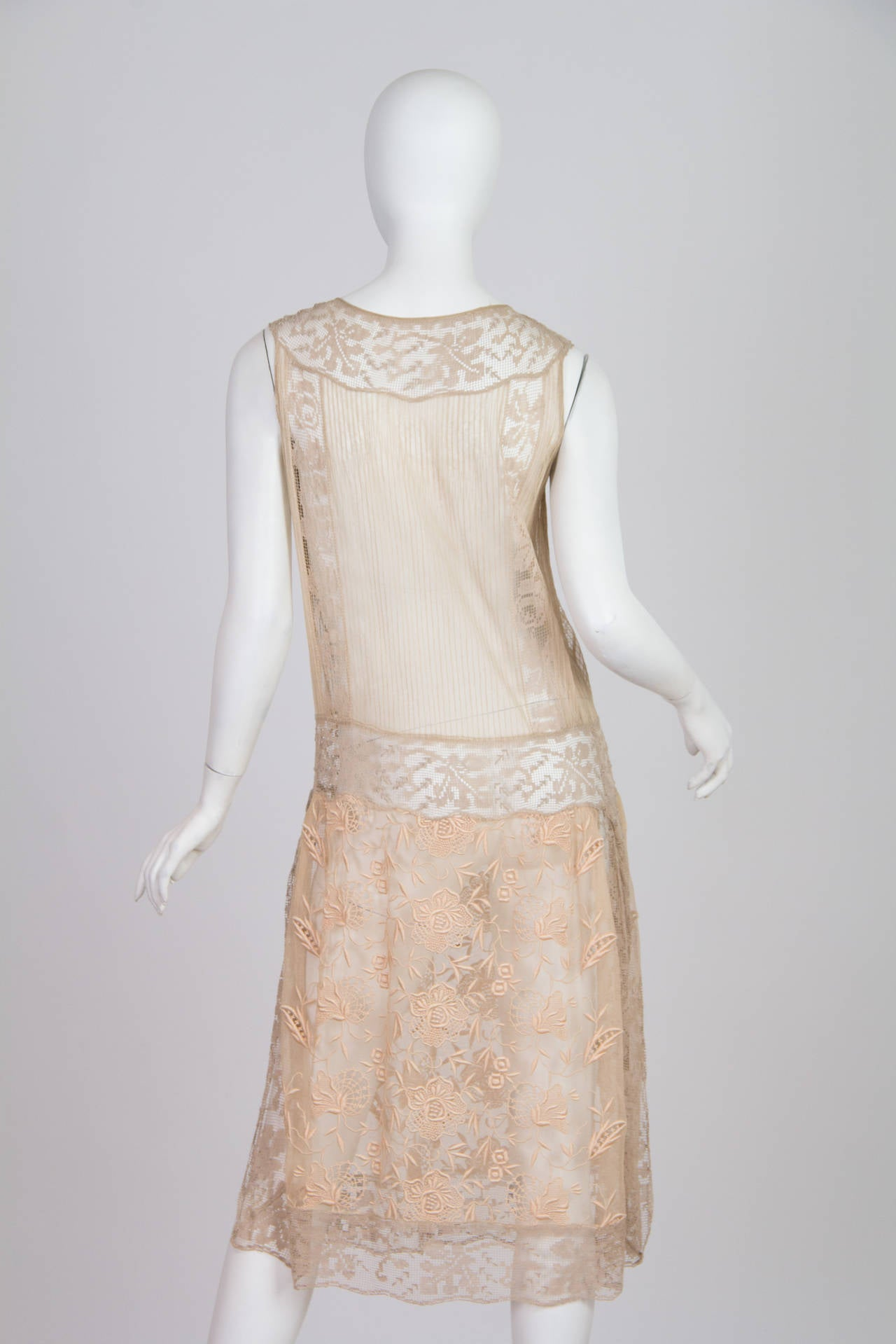 20s Handmade Lace and Embroidered Tea Dress 4