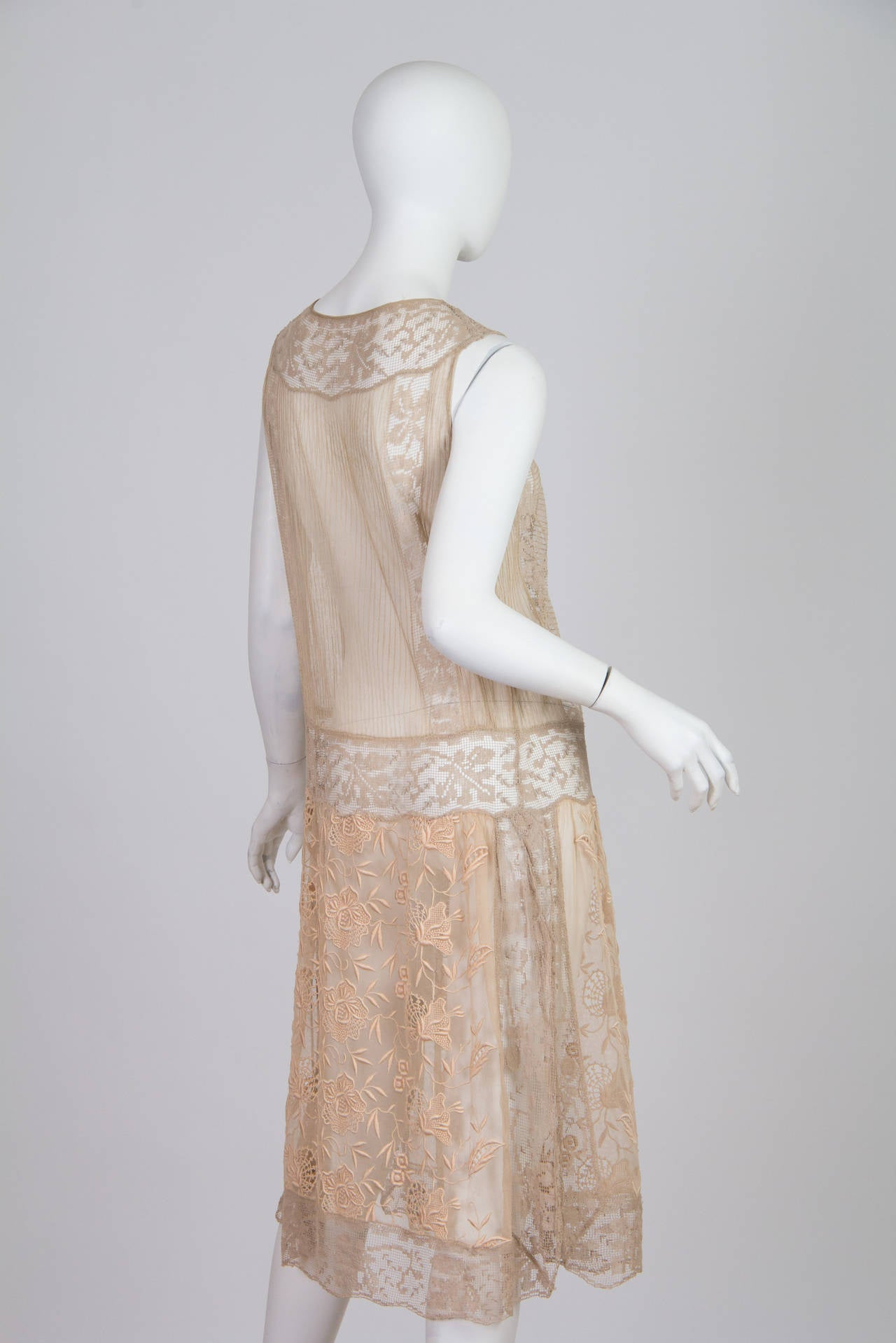 20s Handmade Lace and Embroidered Tea Dress 2