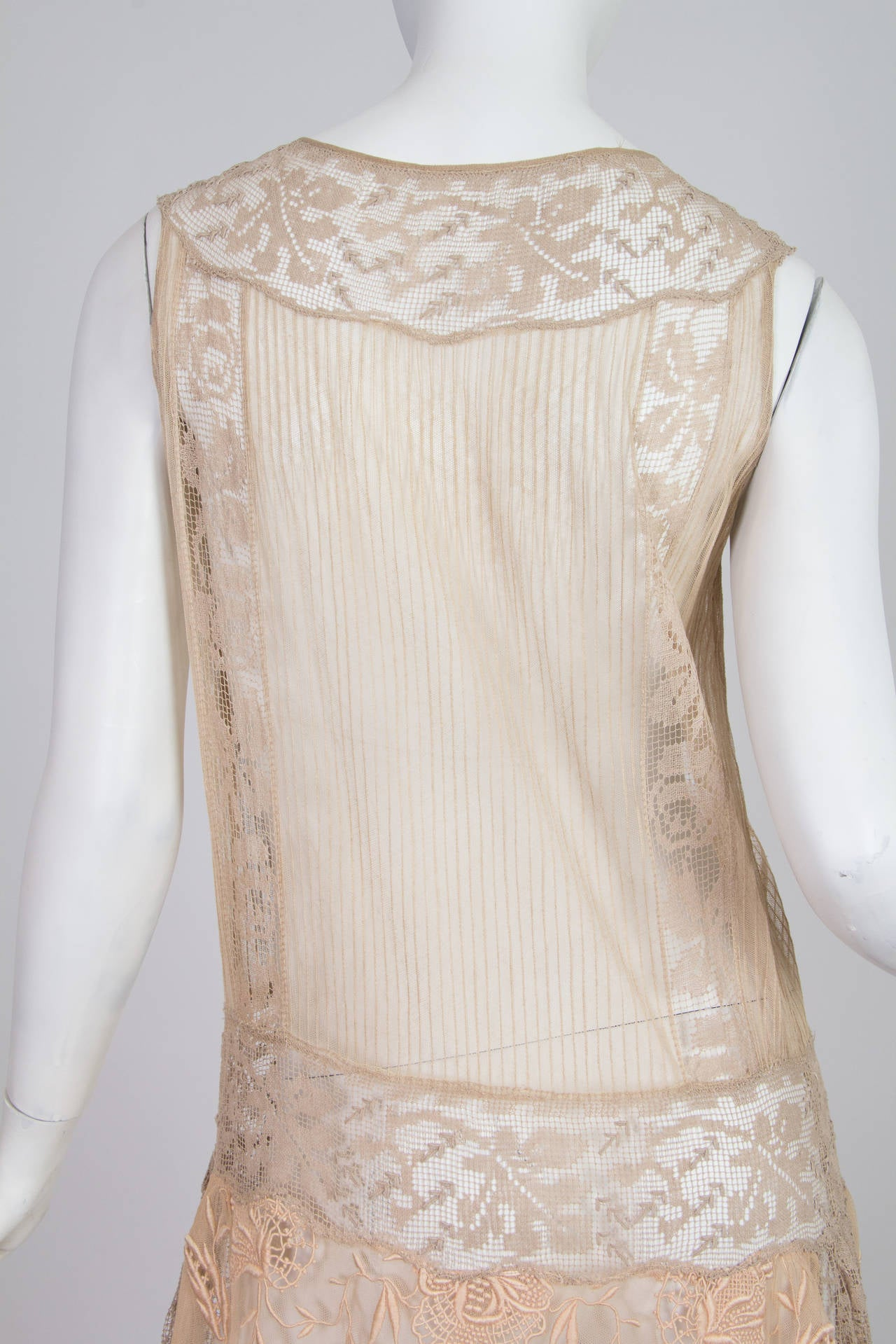 20s Handmade Lace and Embroidered Tea Dress 3