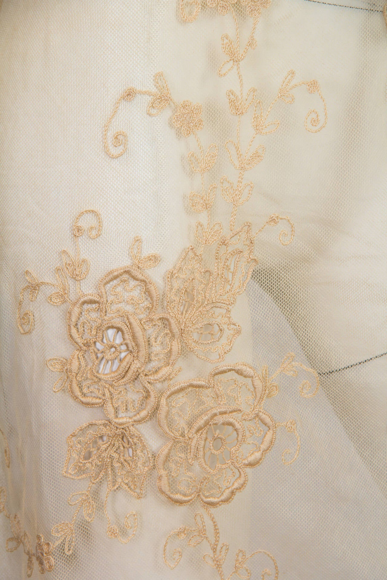 1920s Victorian Curtain Lace Dress For Sale 4