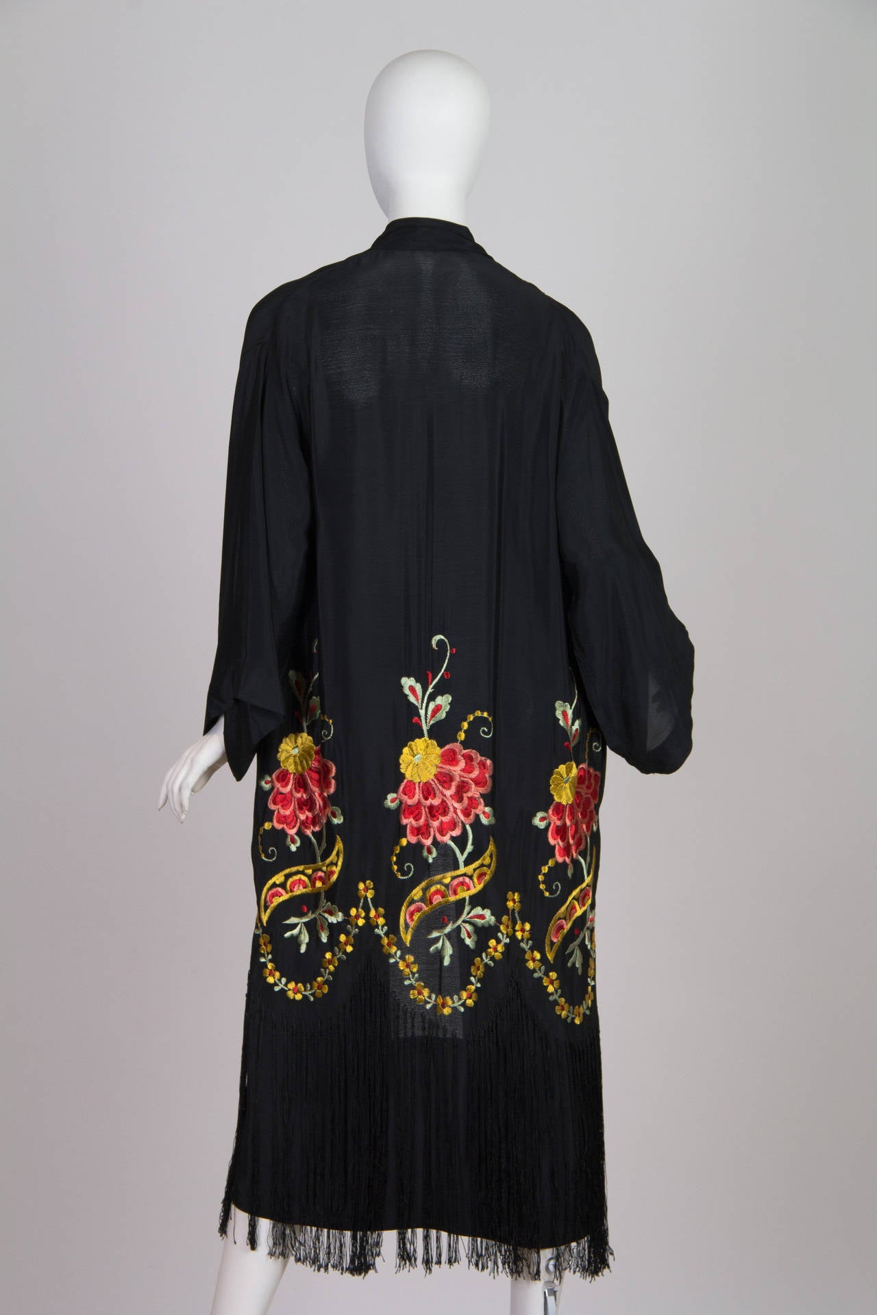 1920s Embroidered Kimono With Fringe At 1stdibs