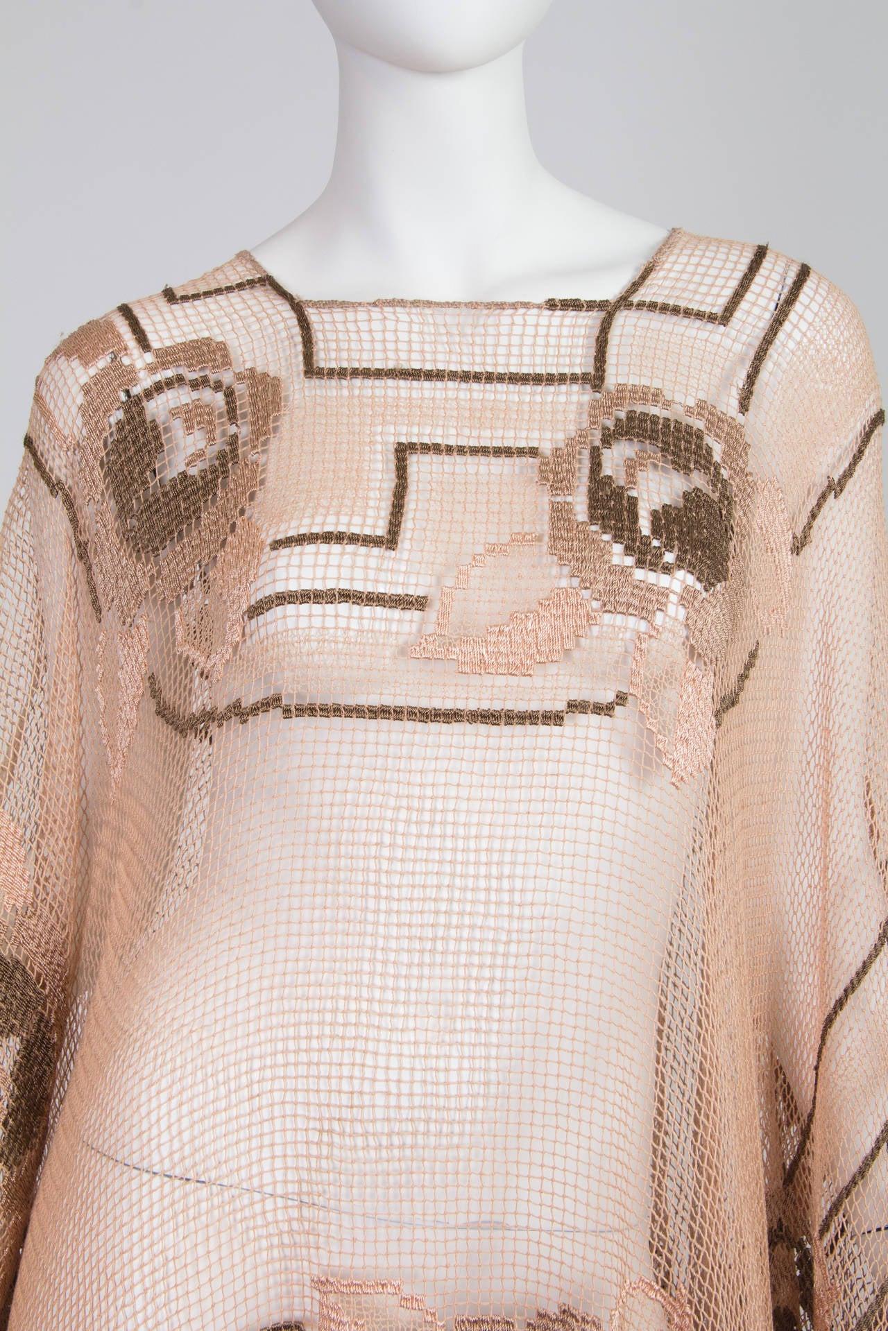 1920s Handmade Filet Lace Boho Fringed Tunic 8