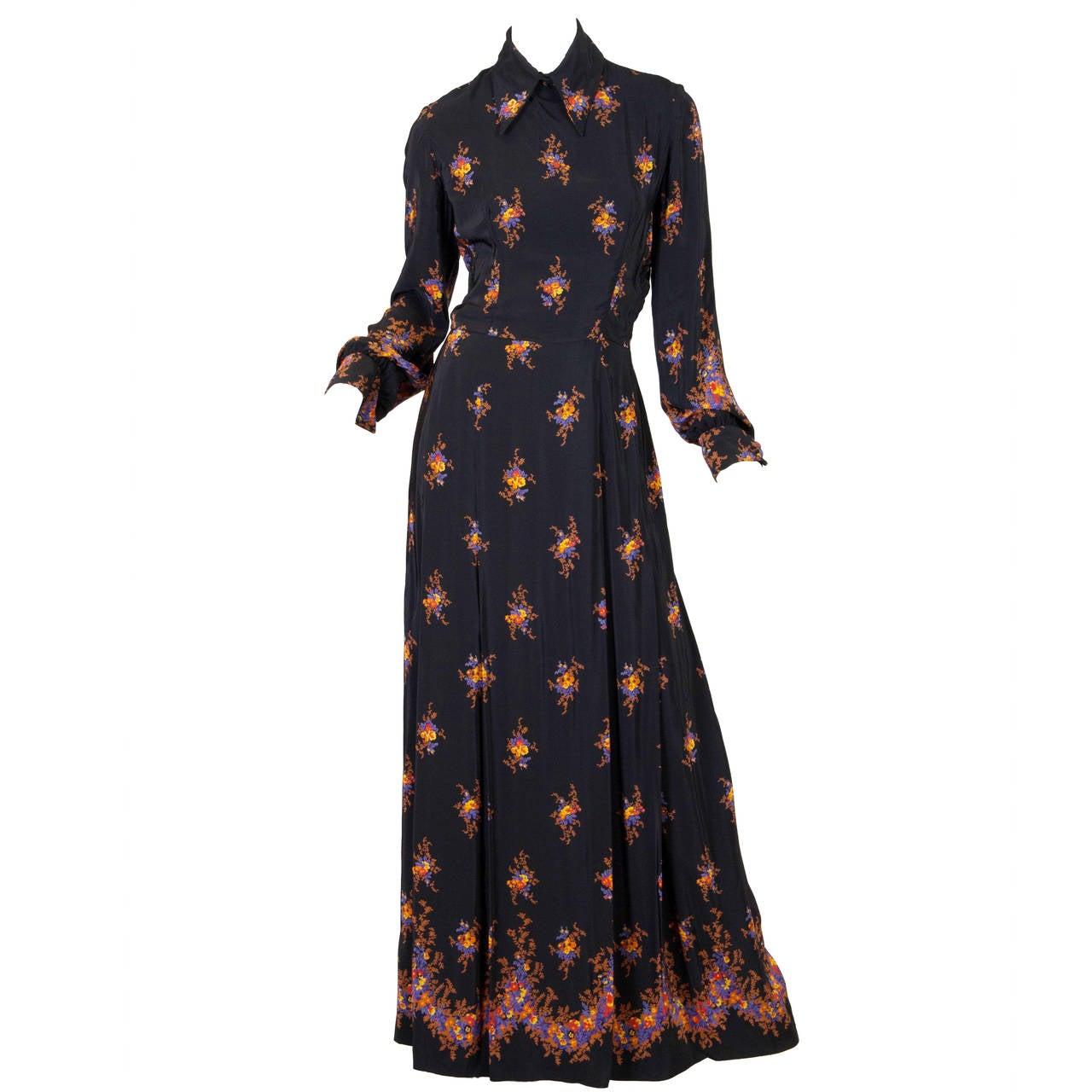 Valentino 1970s Nouveau Victorian Floral Dress 1