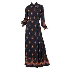 Valentino 1970s Nouveau Victorian Floral Dress